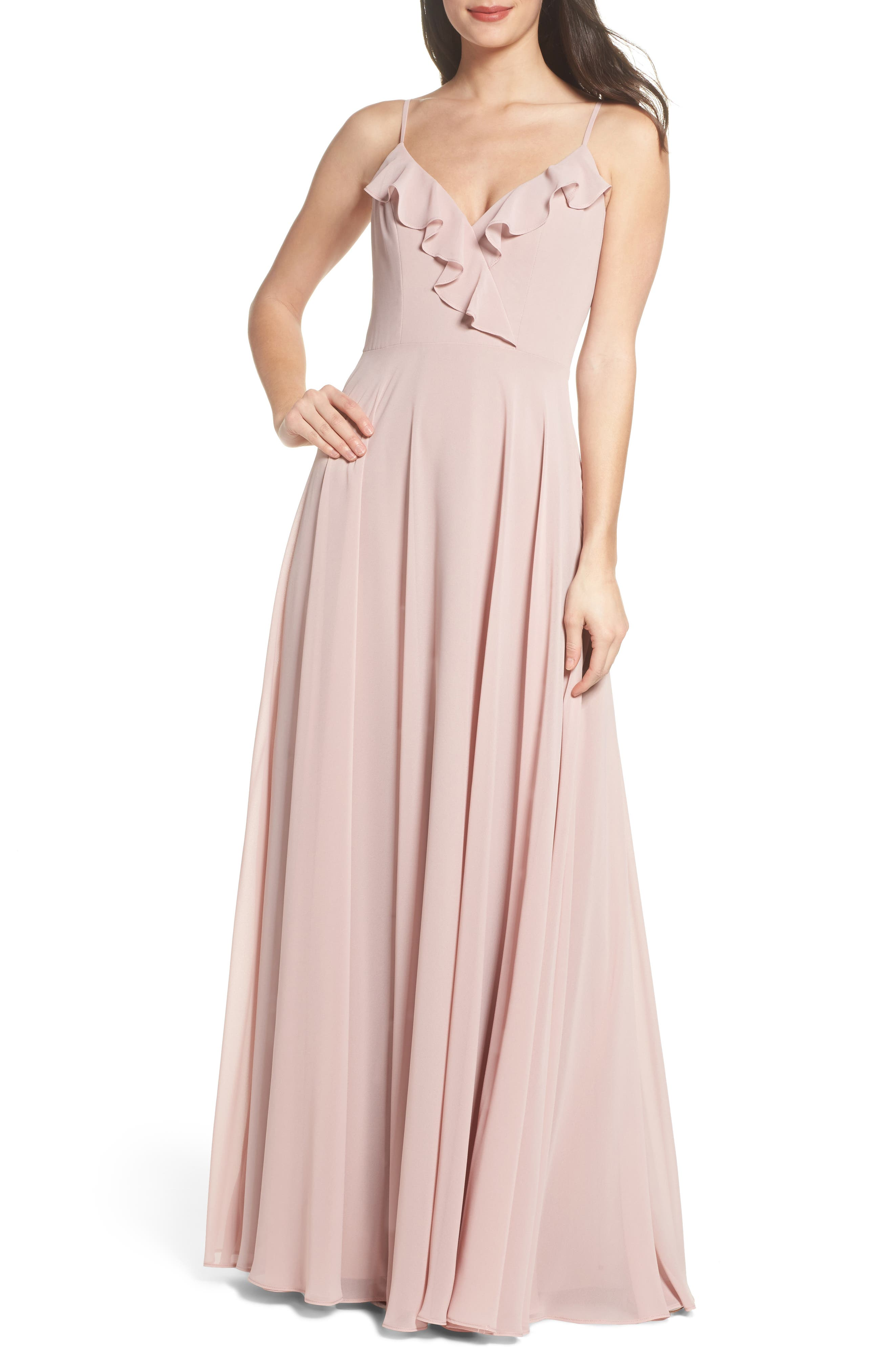 HAYLEY PAIGE OCCASIONS, Ruffle Chiffon Gown, Main thumbnail 1, color, DUSTY ROSE