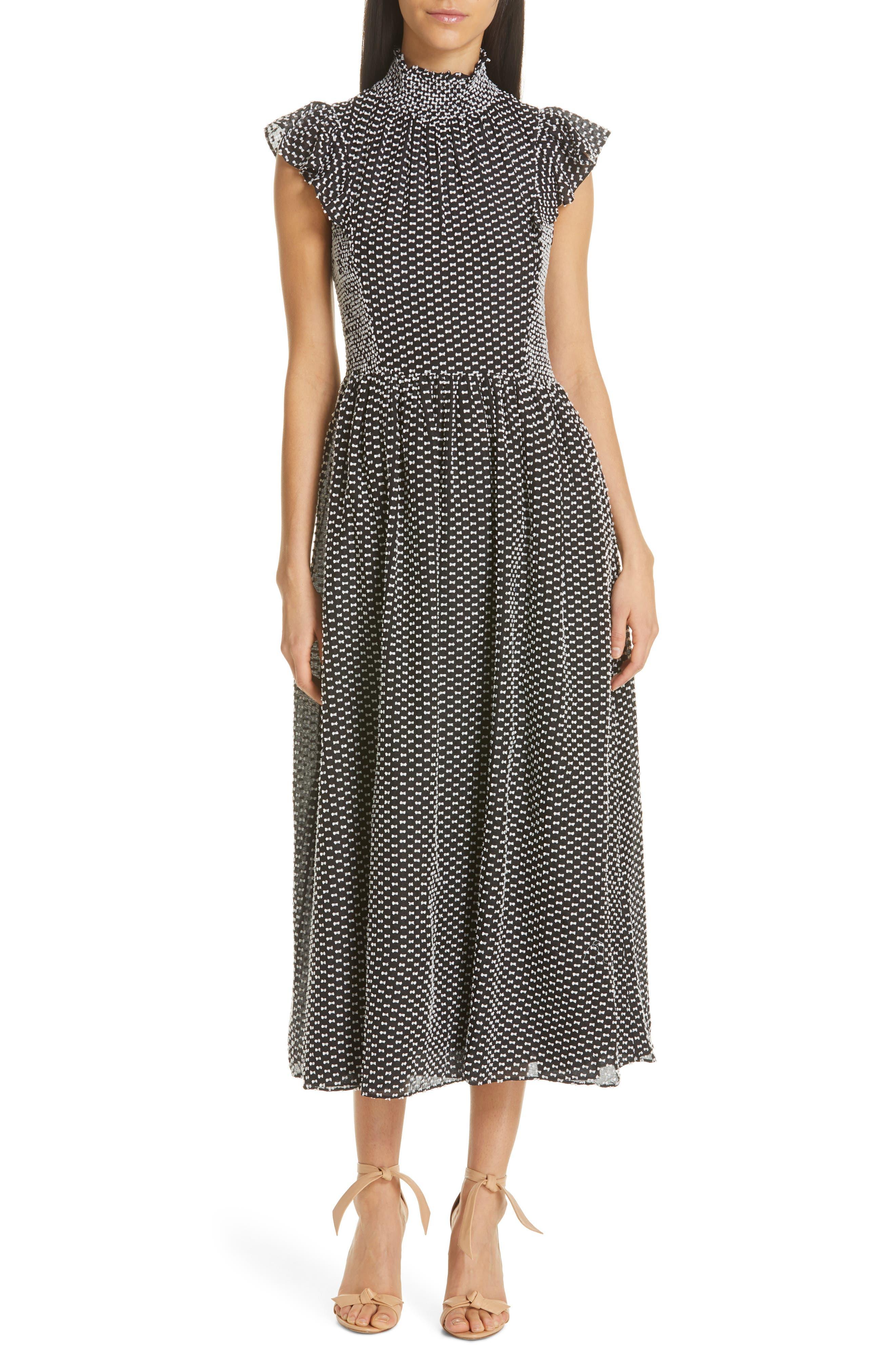 Kate Spade New York Clip Dot Midi Dress, Black