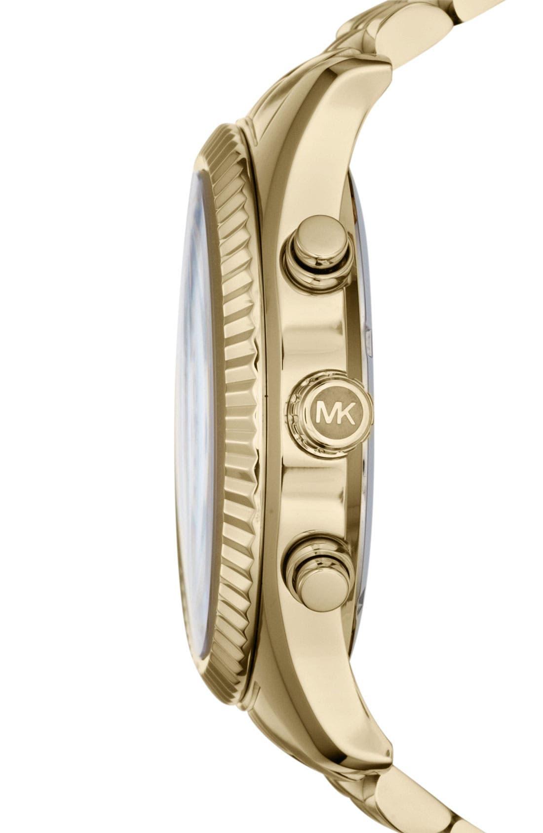 MICHAEL KORS, 'Large Lexington' Chronograph Bracelet Watch, 45mm, Alternate thumbnail 3, color, 710