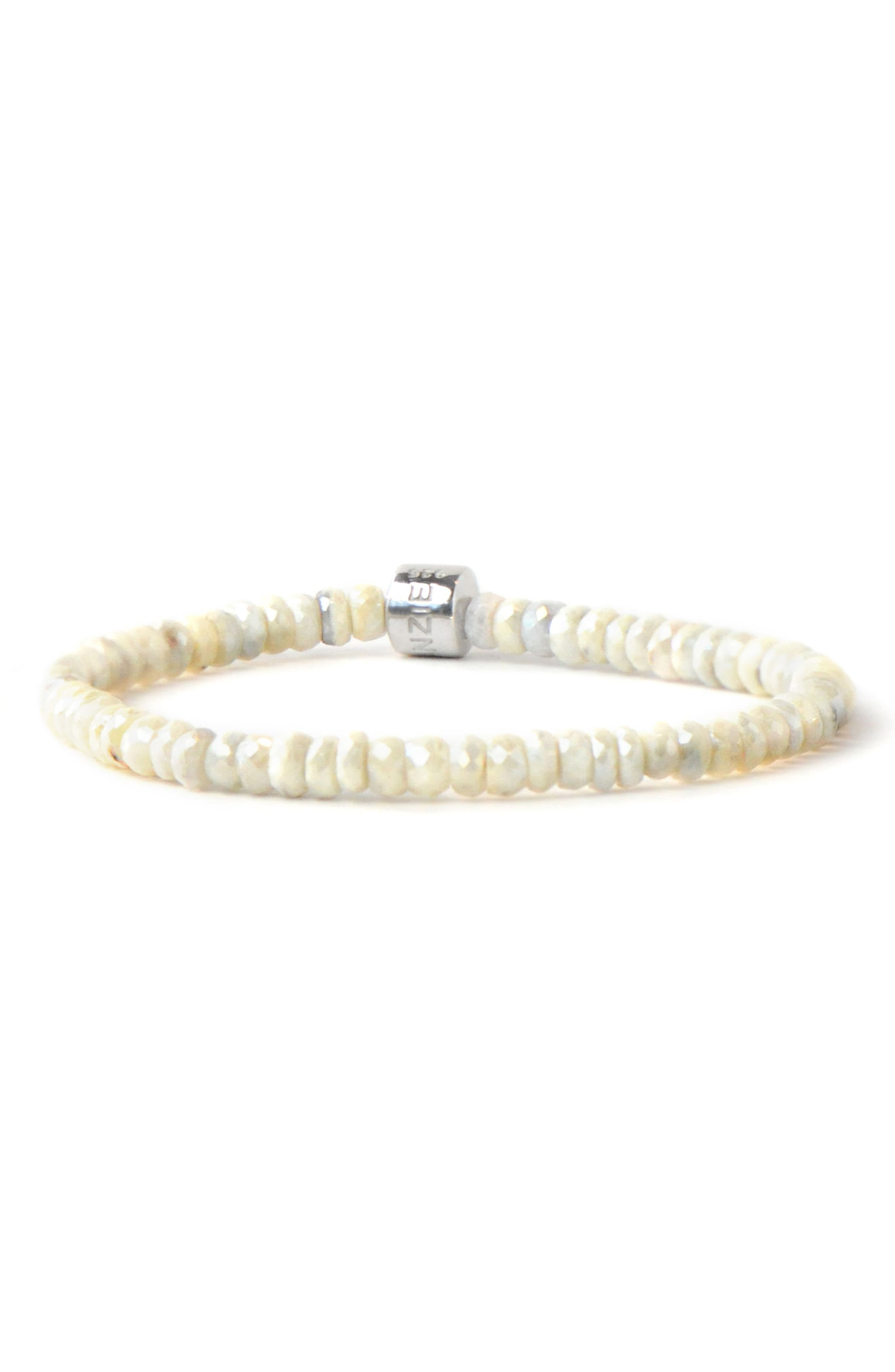 ANZIE, Boheme White Silverite Rondelle Bracelet, Main thumbnail 1, color, SILVER