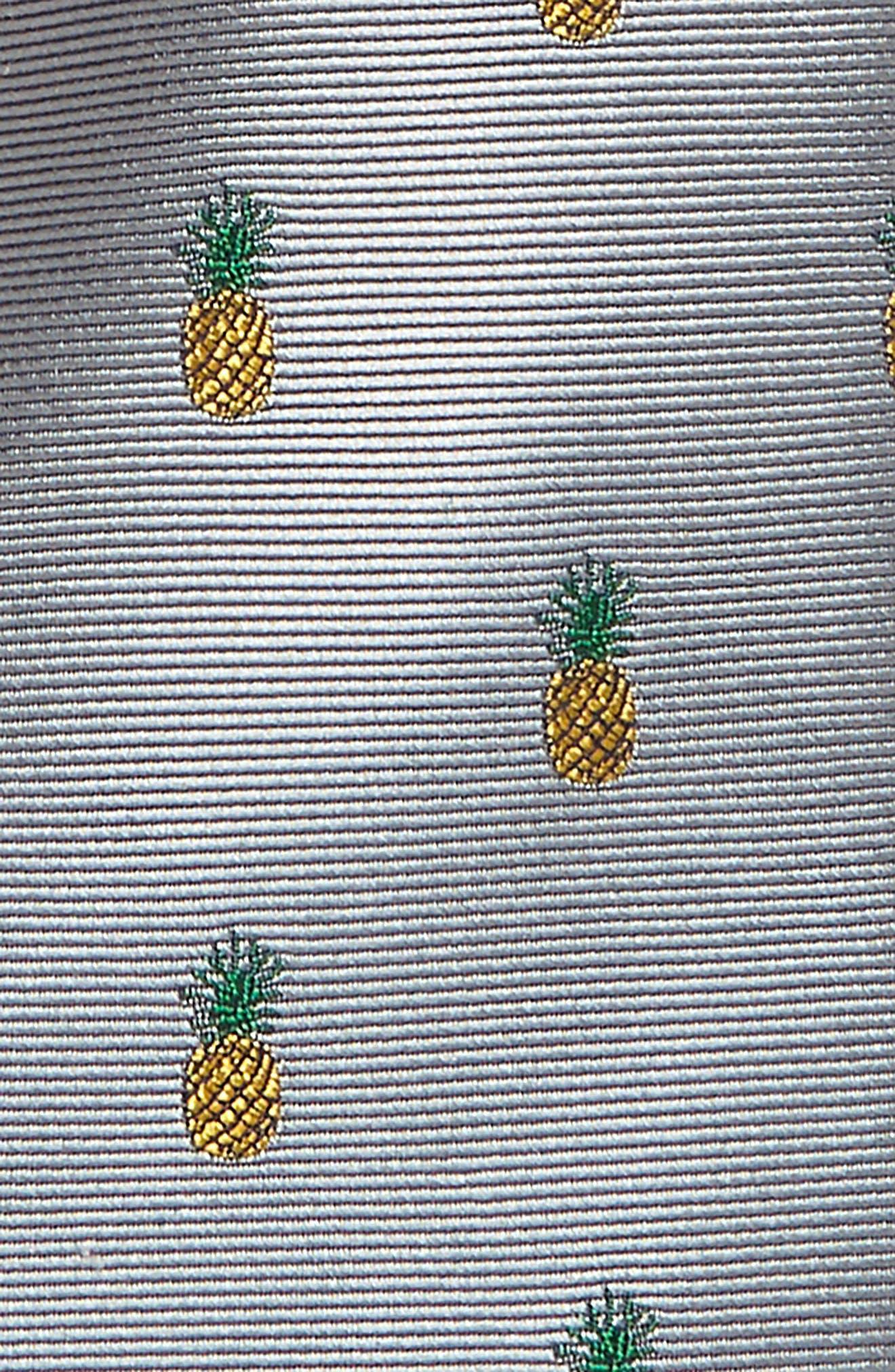 NORDSTROM, Pineapple Silk Tie, Alternate thumbnail 2, color, GREY