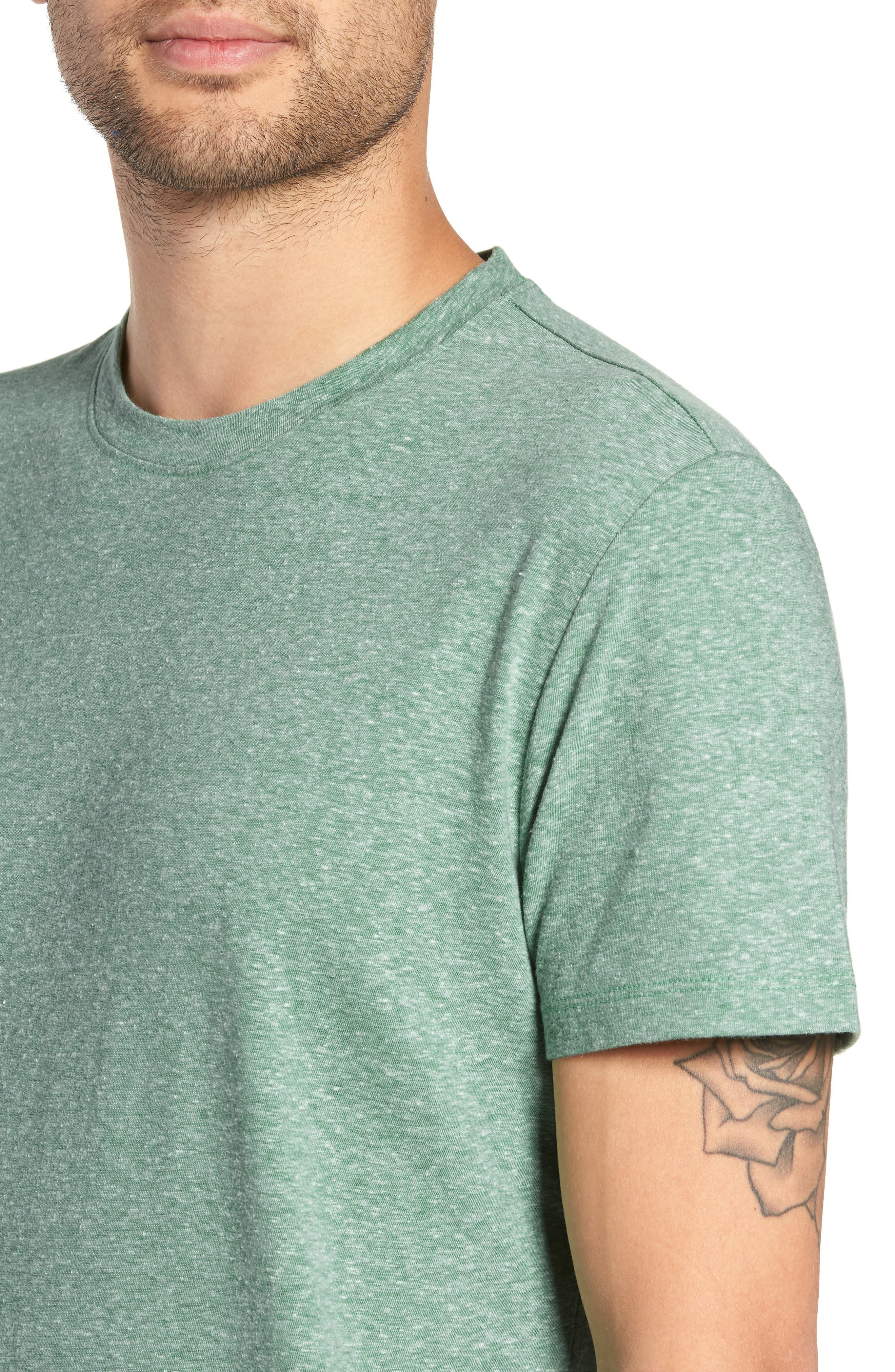 THE RAIL, Solid Crewneck T-Shirt, Alternate thumbnail 4, color, GREEN FROSTY