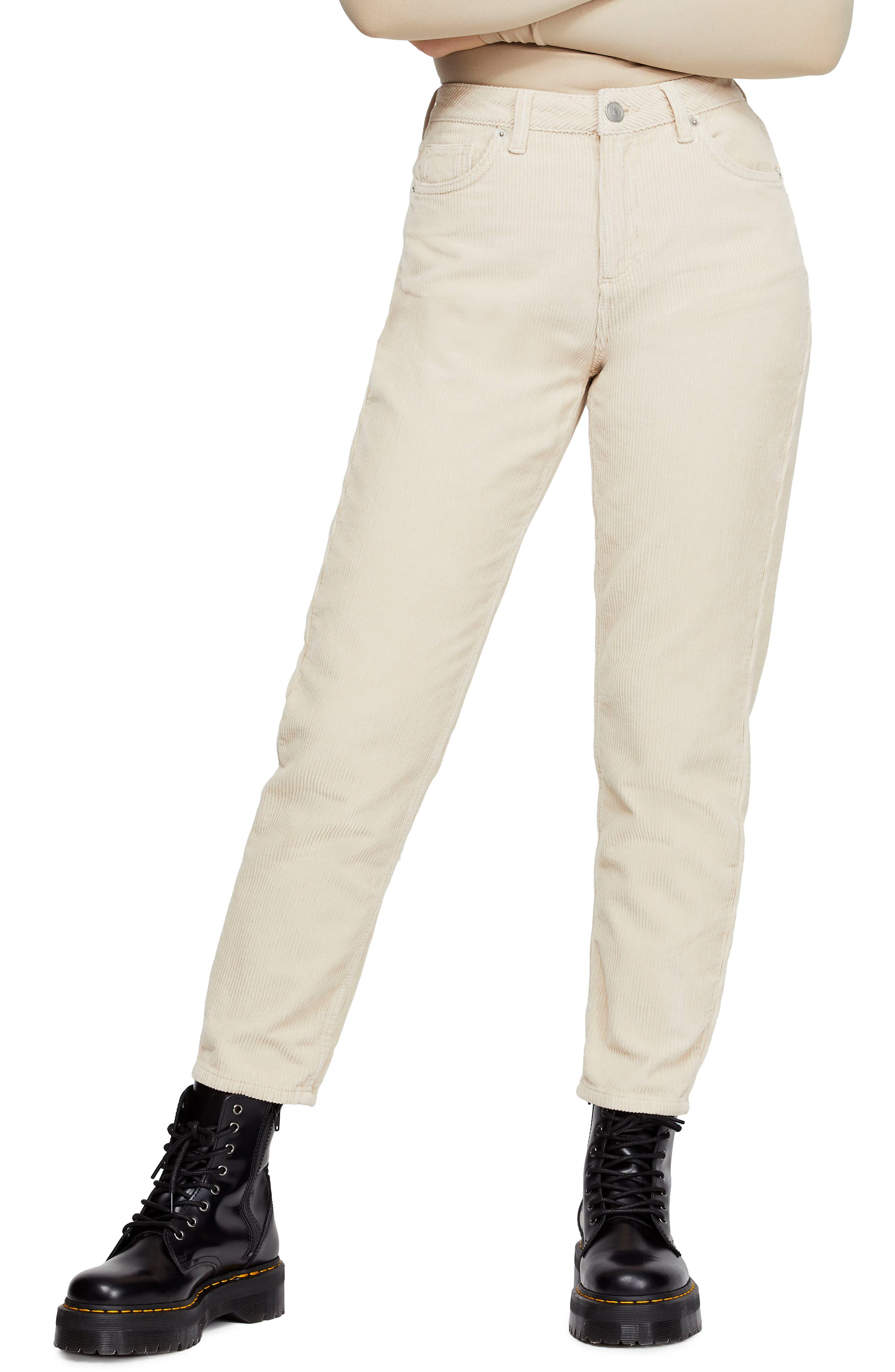 BDG, Urban Outfitters Mom Corduroy Pants, Main thumbnail 1, color, WHITE