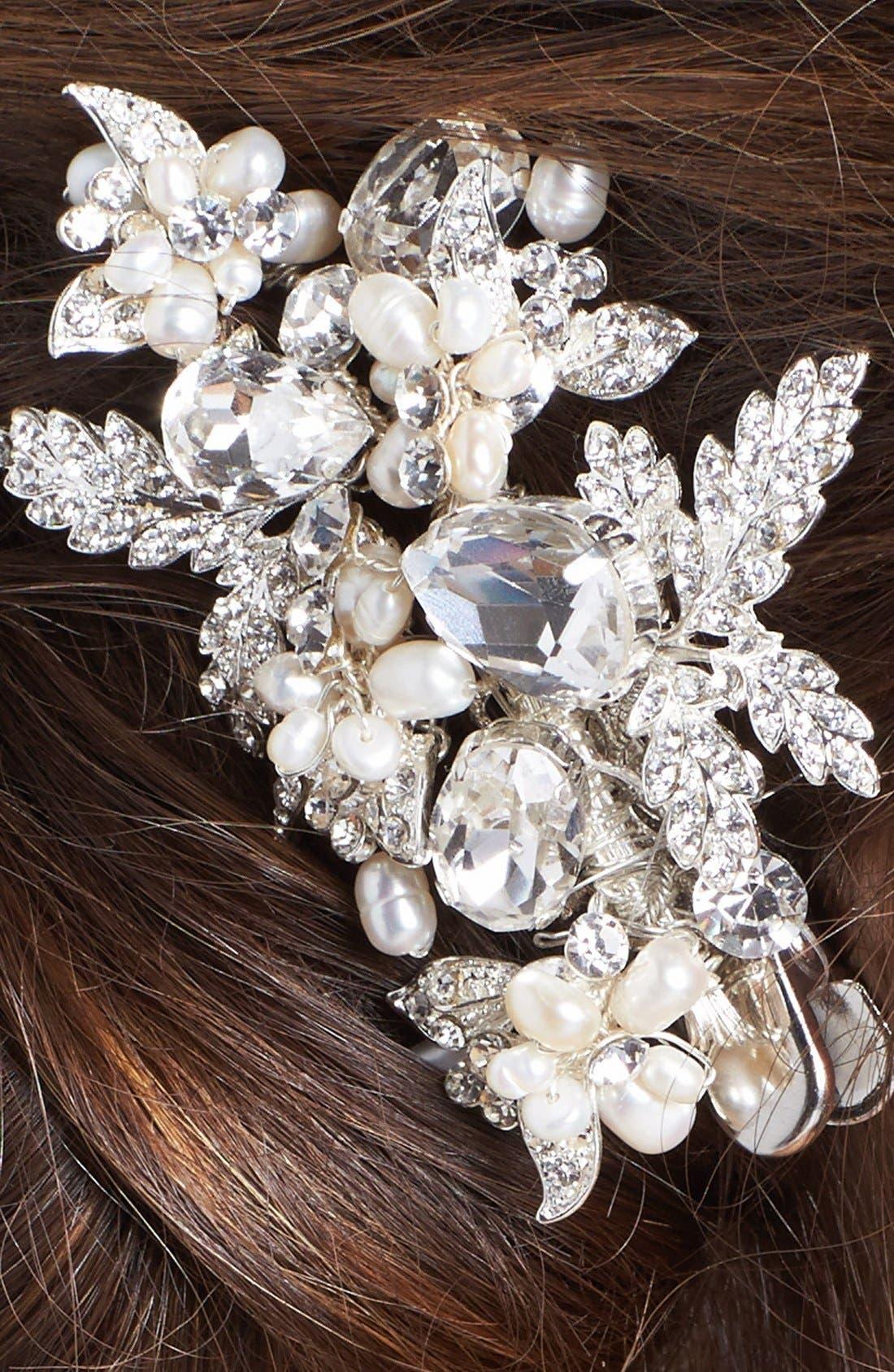 WEDDING BELLES NEW YORK, 'Luella' Czech Crystal & Freshwater Pearl Clip, Alternate thumbnail 2, color, SILVER