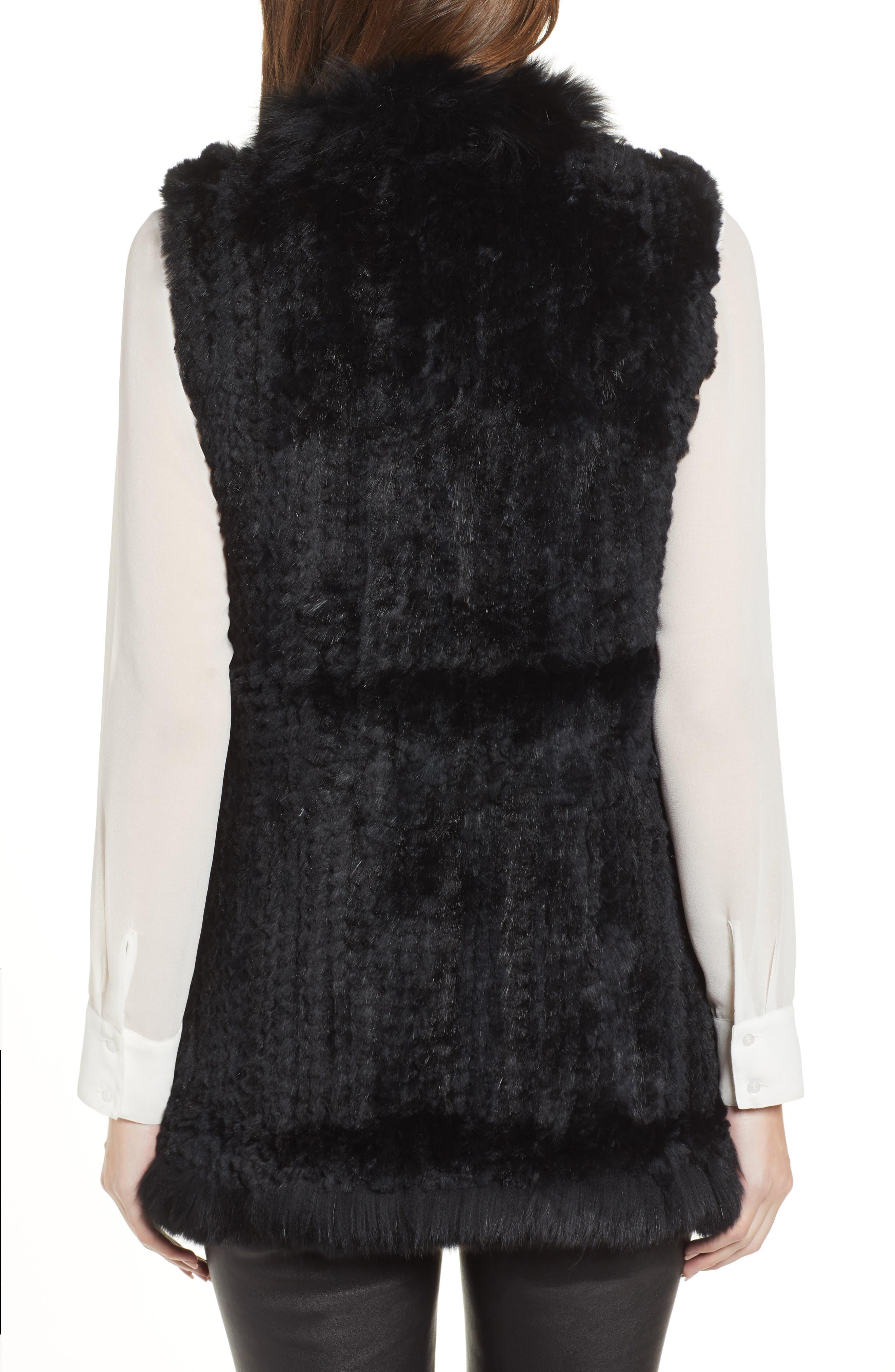 LOVE TOKEN, Genuine Rabbit Fur Vest with Genuine Fox Fur Trim, Alternate thumbnail 2, color, 001