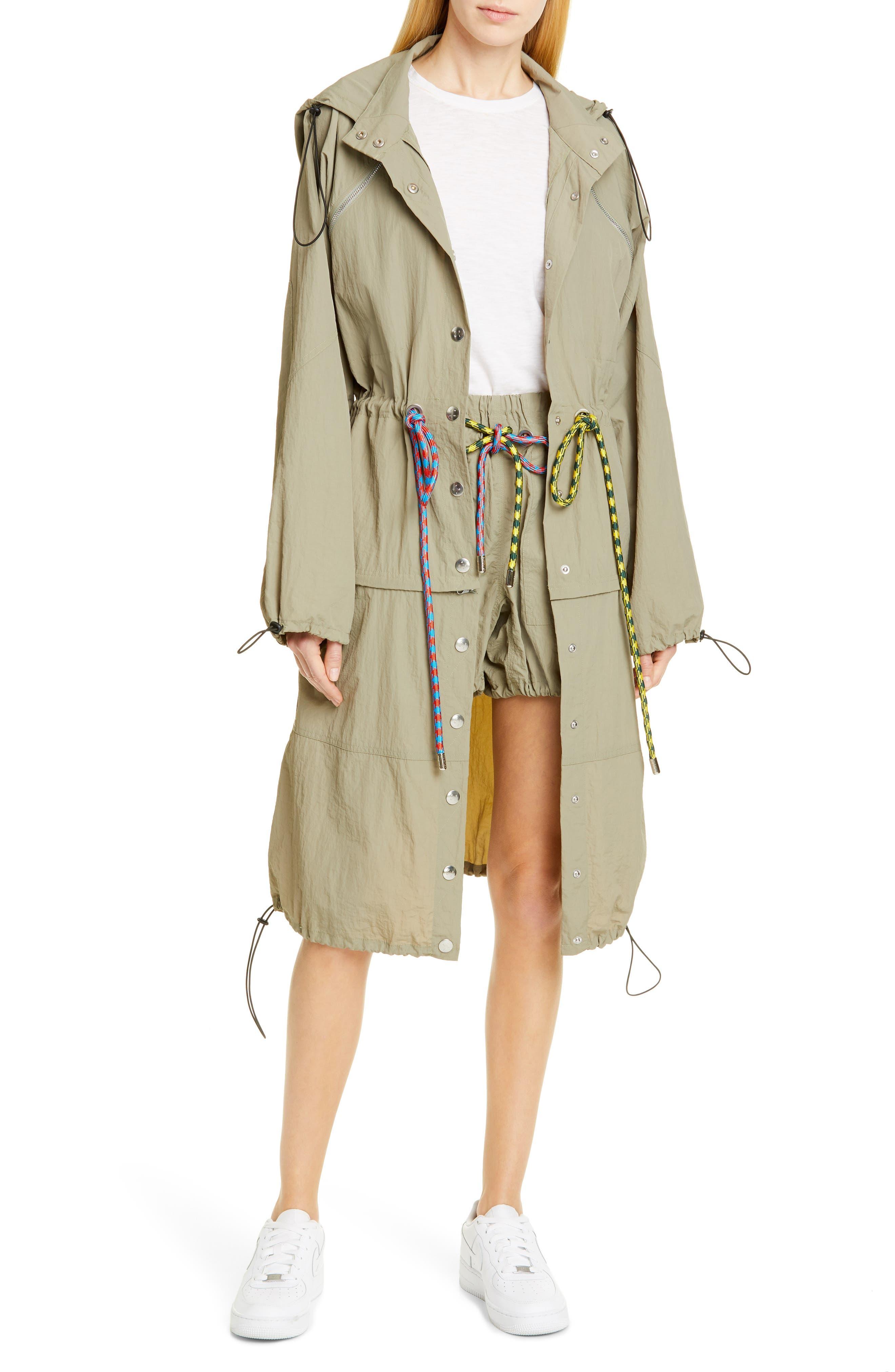 PROENZA SCHOULER, PSWL Drawstring Waist Parachute Shorts, Alternate thumbnail 7, color, MOSS