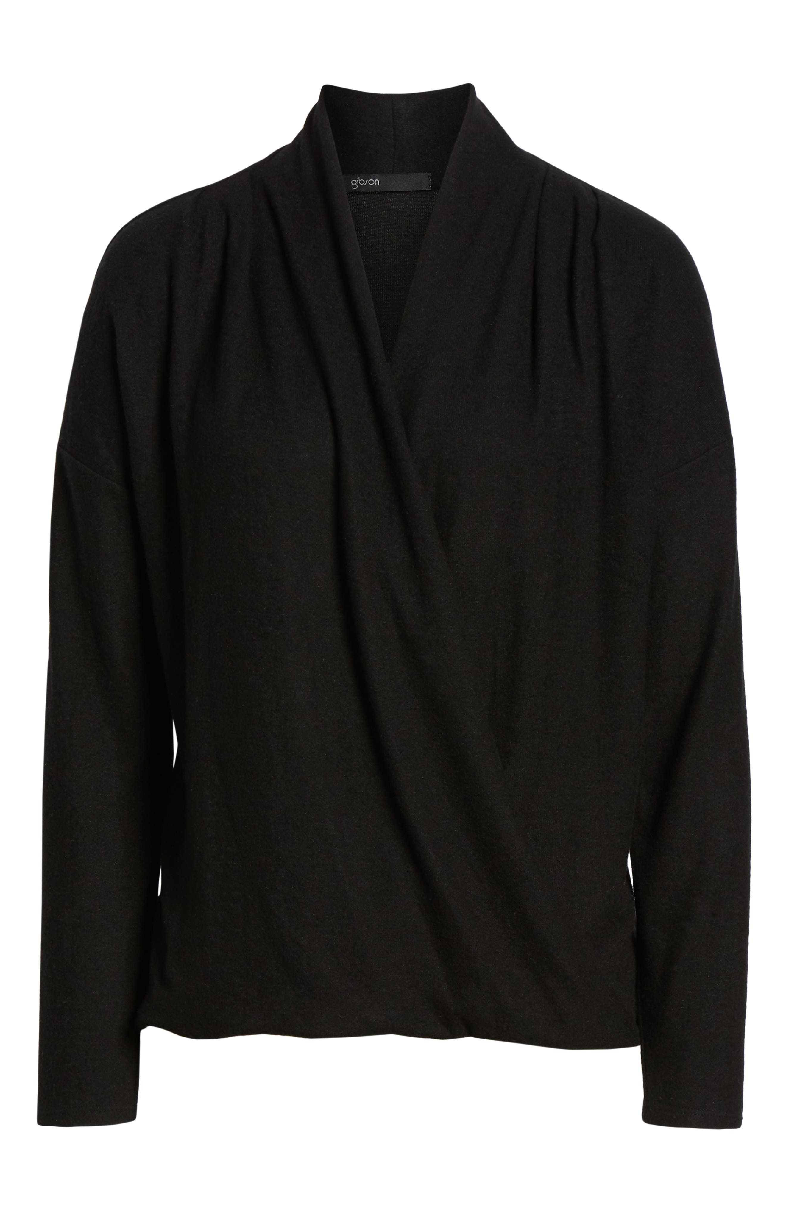 GIBSON, x Living in Yellow Diana Cozy Knit Wrap Top, Alternate thumbnail 6, color, SOLID BLACK