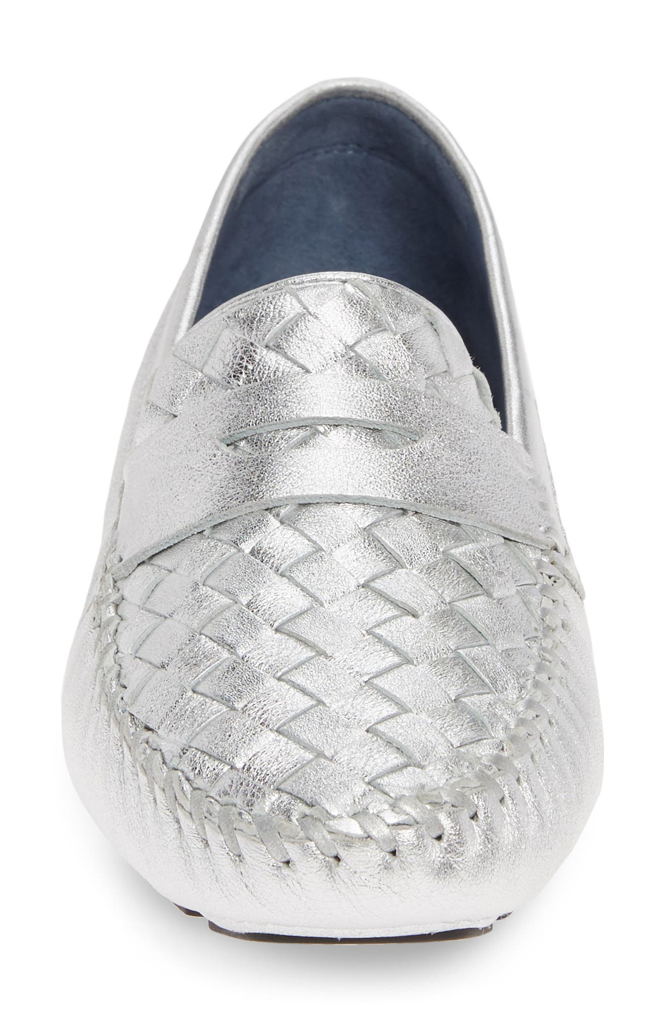 ROBERT ZUR, 'Petra' Driving Shoe, Alternate thumbnail 4, color, SILVER BRIGHT NAPPA