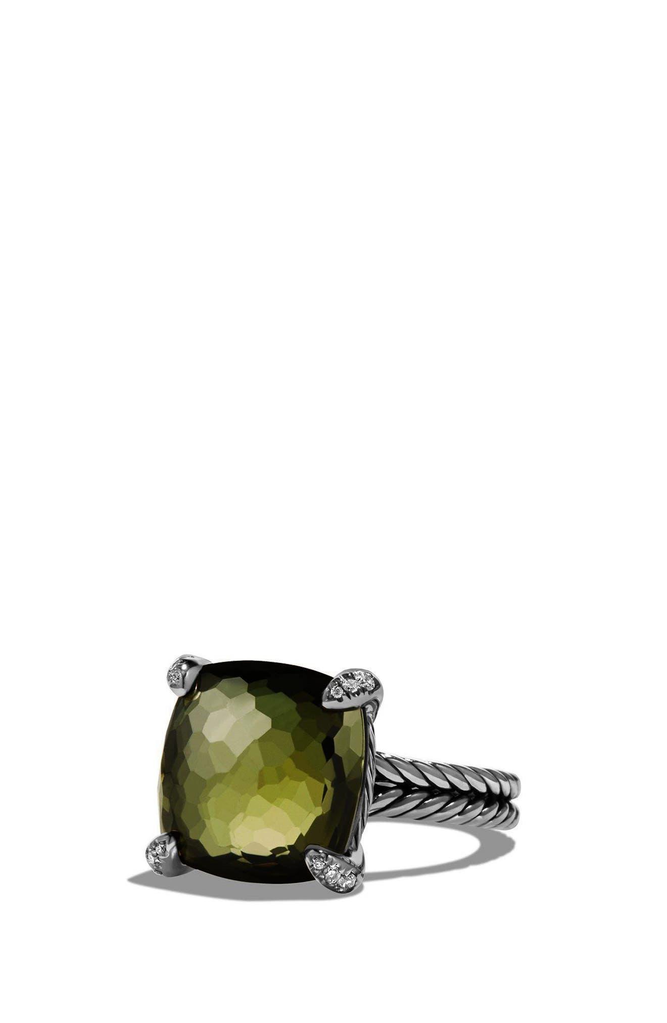 DAVID YURMAN 'Châtelaine' Ring with Semiprecious Stone and Diamonds, Main, color, SILVER/ CITRINE/ HEMATINE