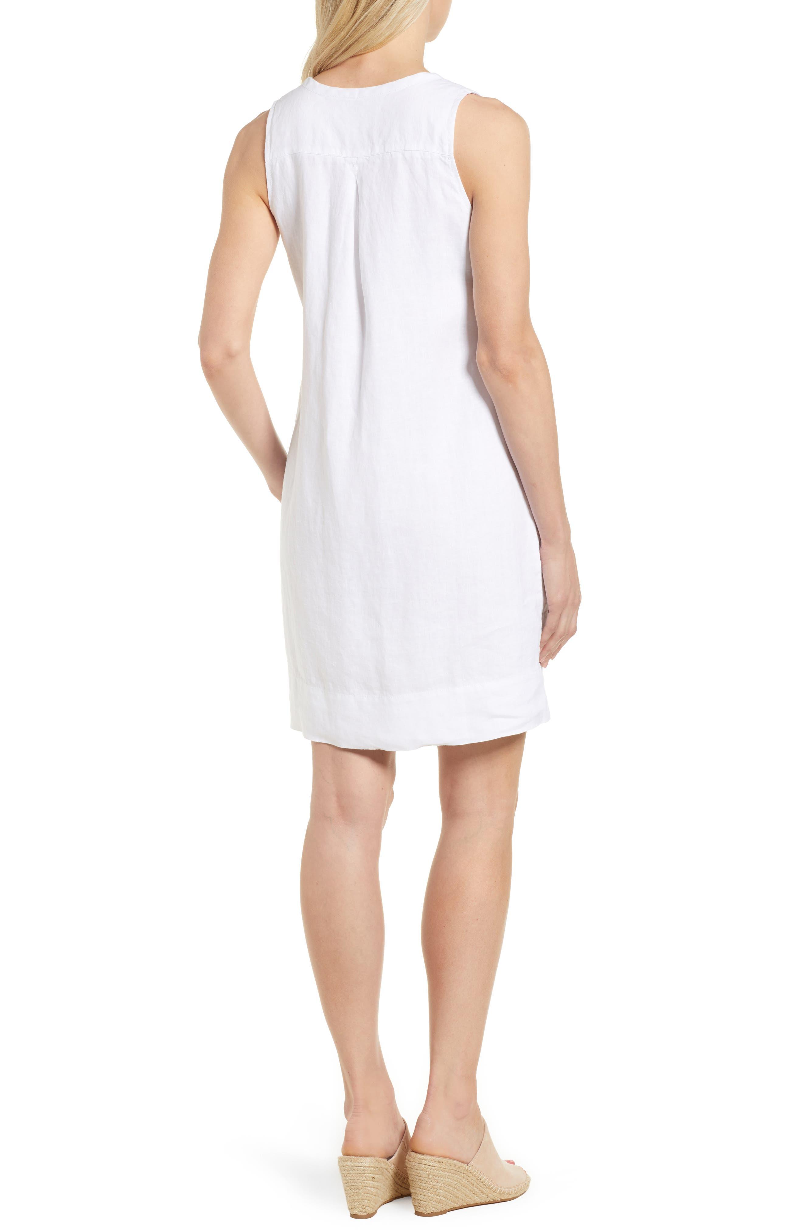 TOMMY BAHAMA, Sea Glass Linen Shift Dress, Alternate thumbnail 2, color, WHITE