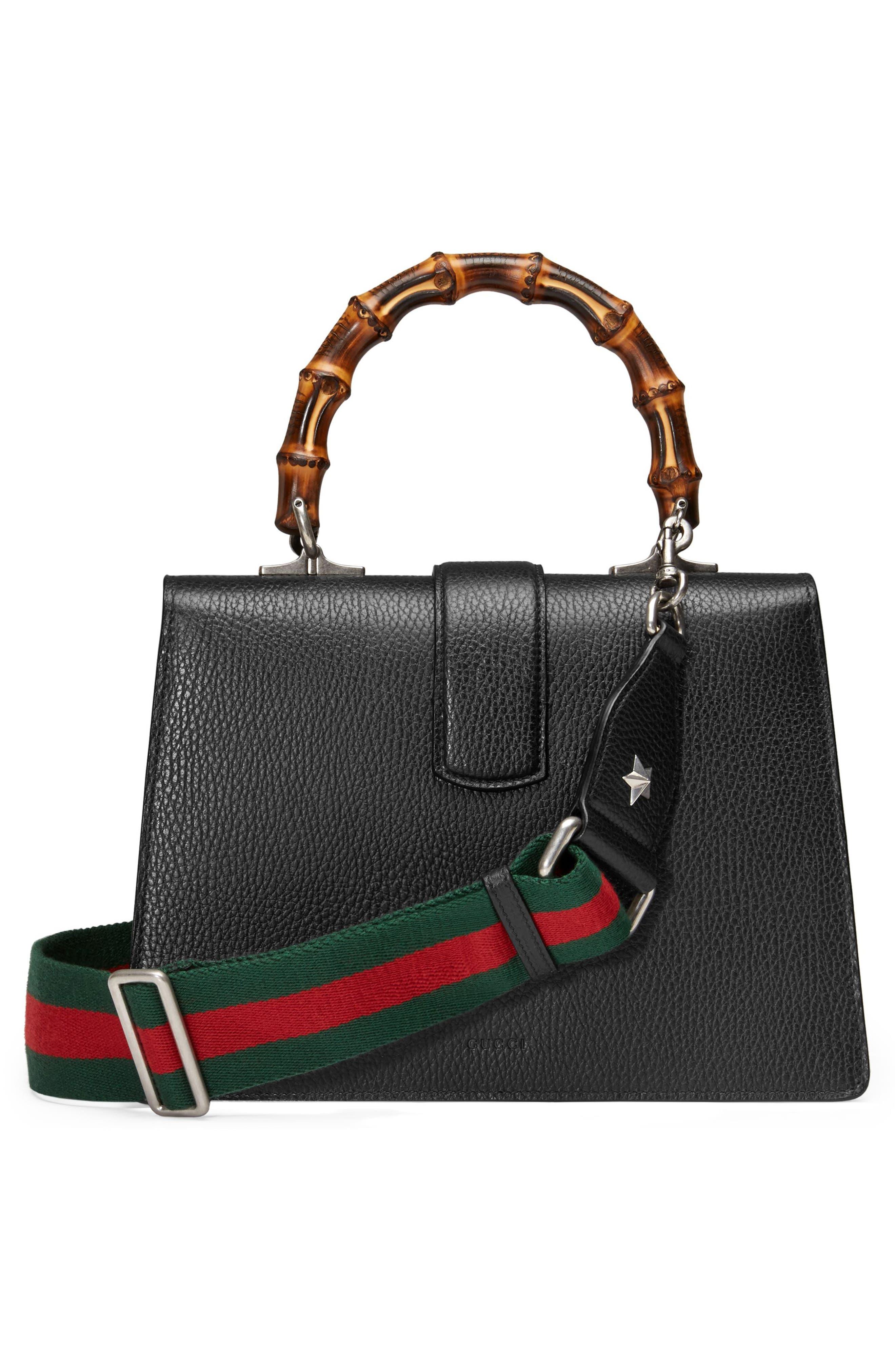 GUCCI, Medium Dionysus Leather Top Handle Satchel, Alternate thumbnail 3, color, NERO/ VRV/ BLACK DIAMOND