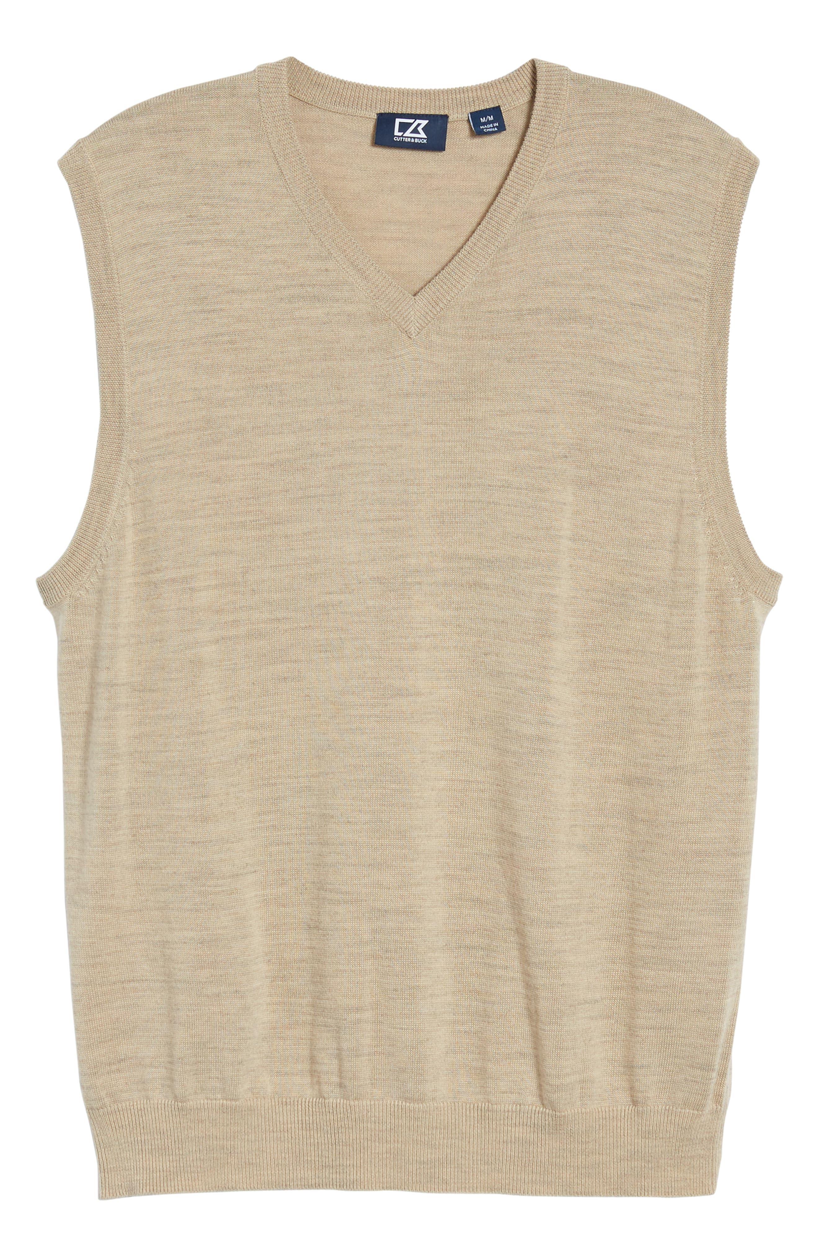CUTTER & BUCK, 'Douglas' Merino Wool Blend V-Neck Sweater Vest, Alternate thumbnail 6, color, SAND HEATHER