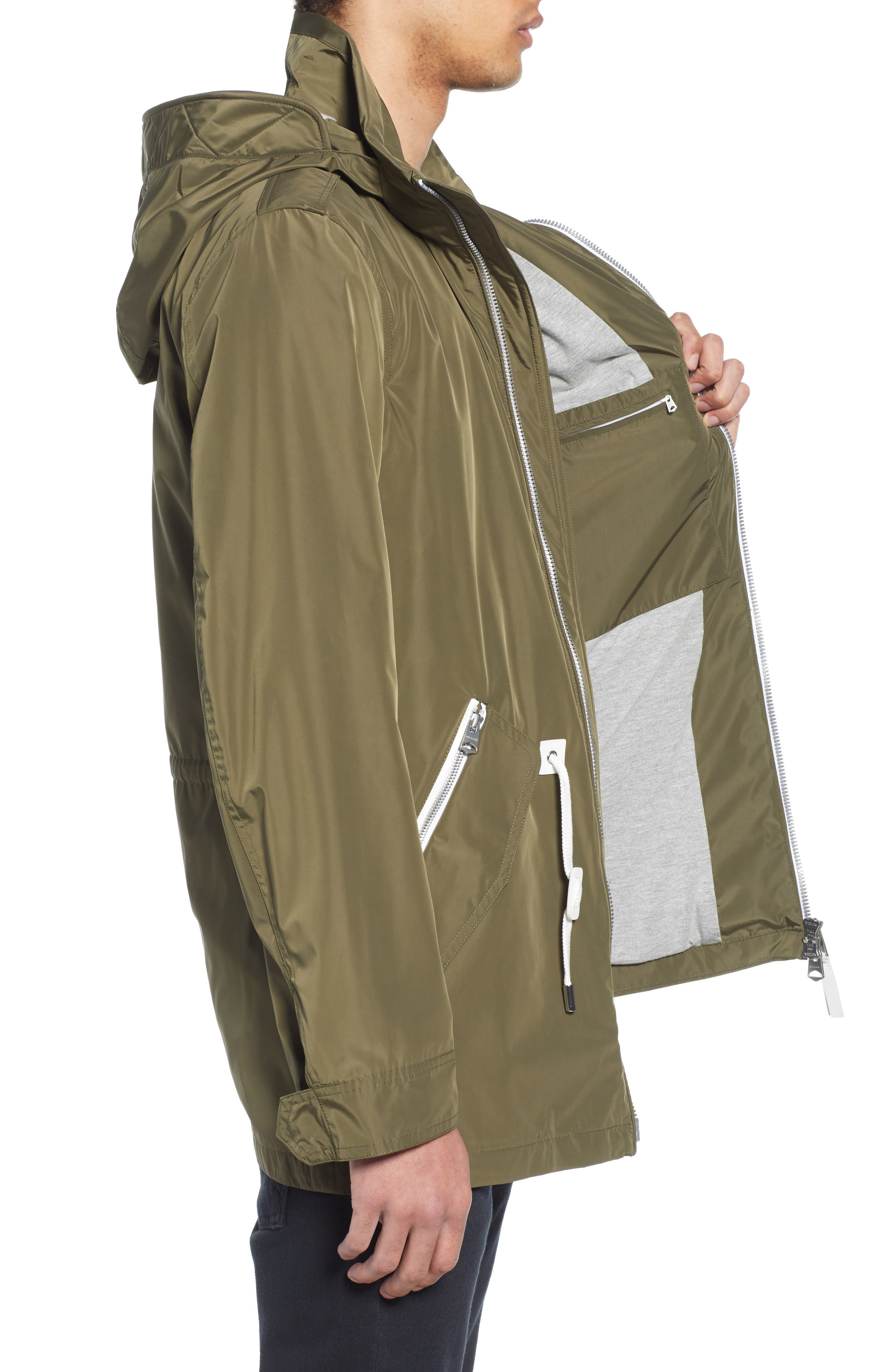 MACKAGE, Mack Water Repellent Lined Raincoat, Alternate thumbnail 4, color, ARMY