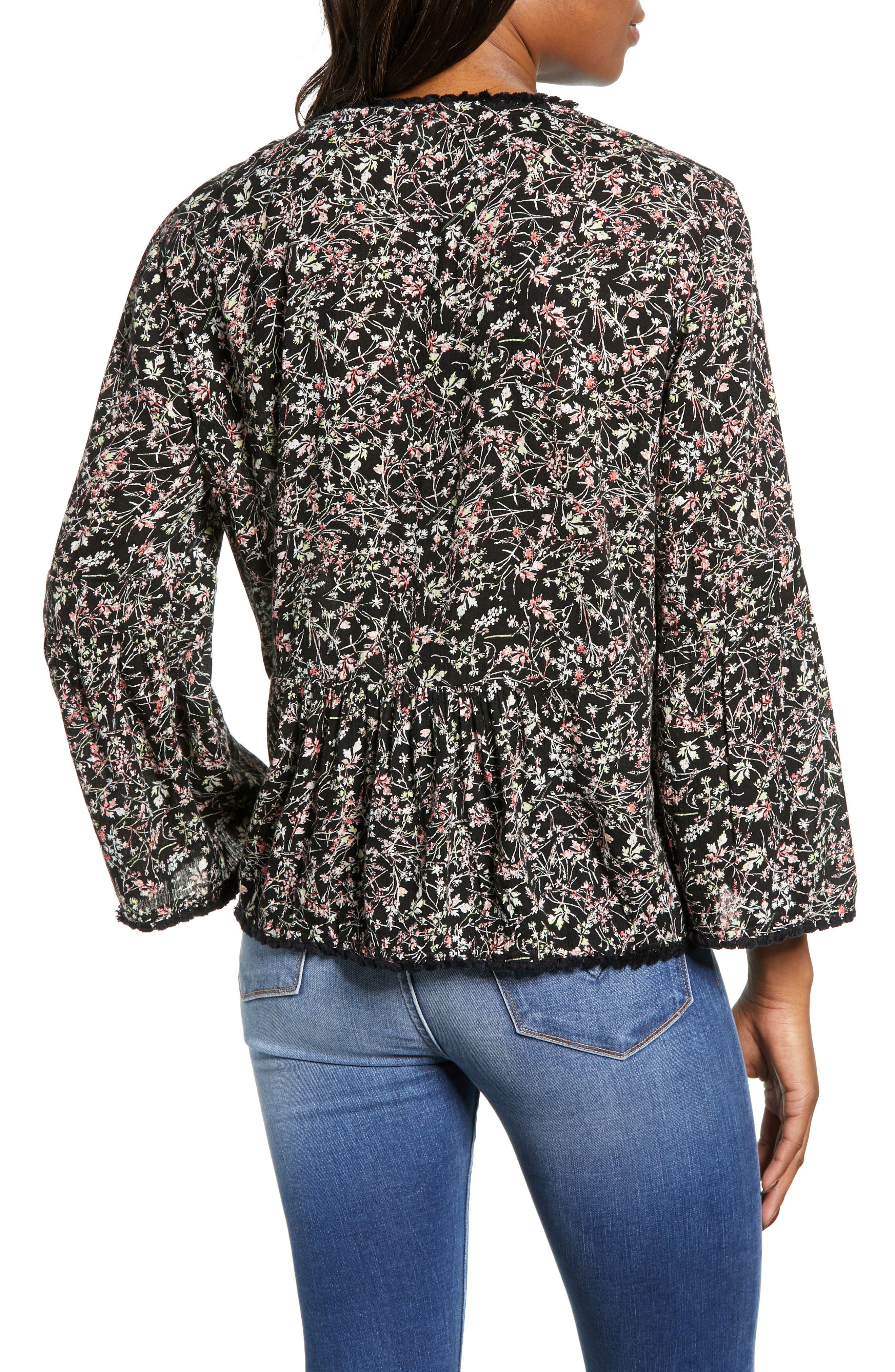 CASLON<SUP>®</SUP>, Print Fringe Trim Top, Alternate thumbnail 2, color, BLACK- GREEN NATURE FLORAL