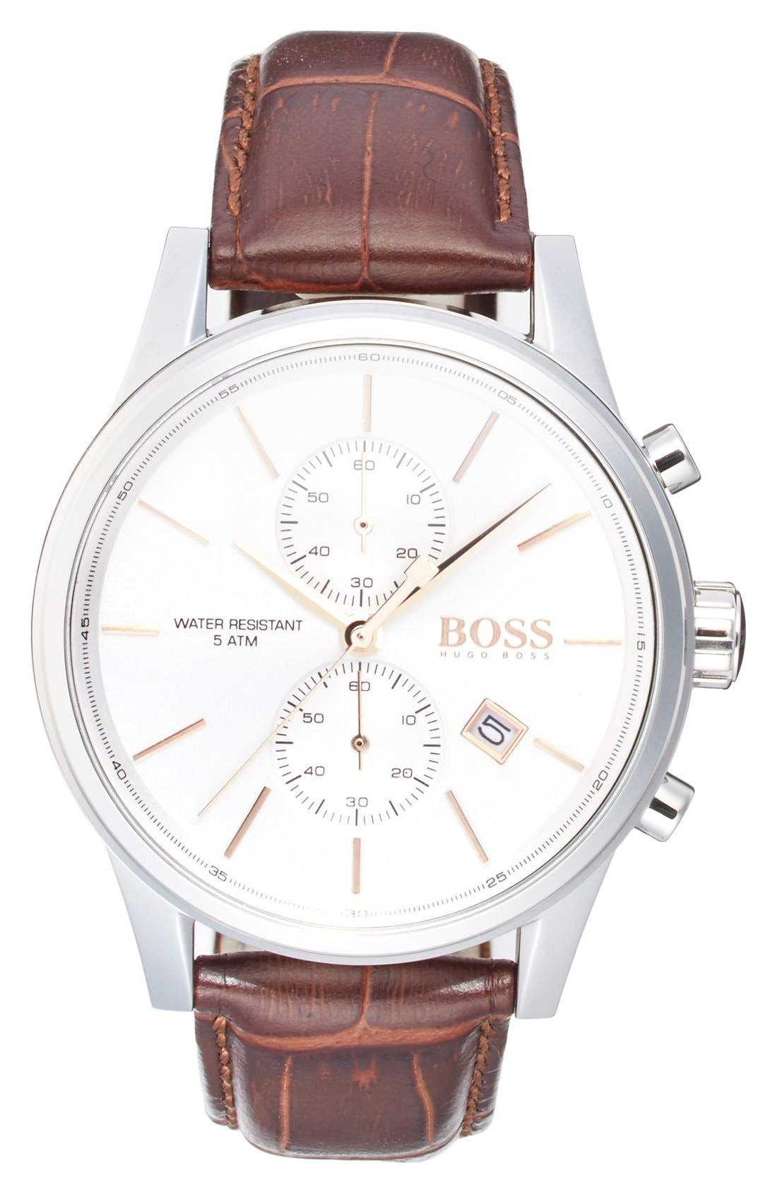 BOSS 'Jet Sport' Chronograph Leather Strap Watch, 41mm, Main, color, WHITE/ BROWN