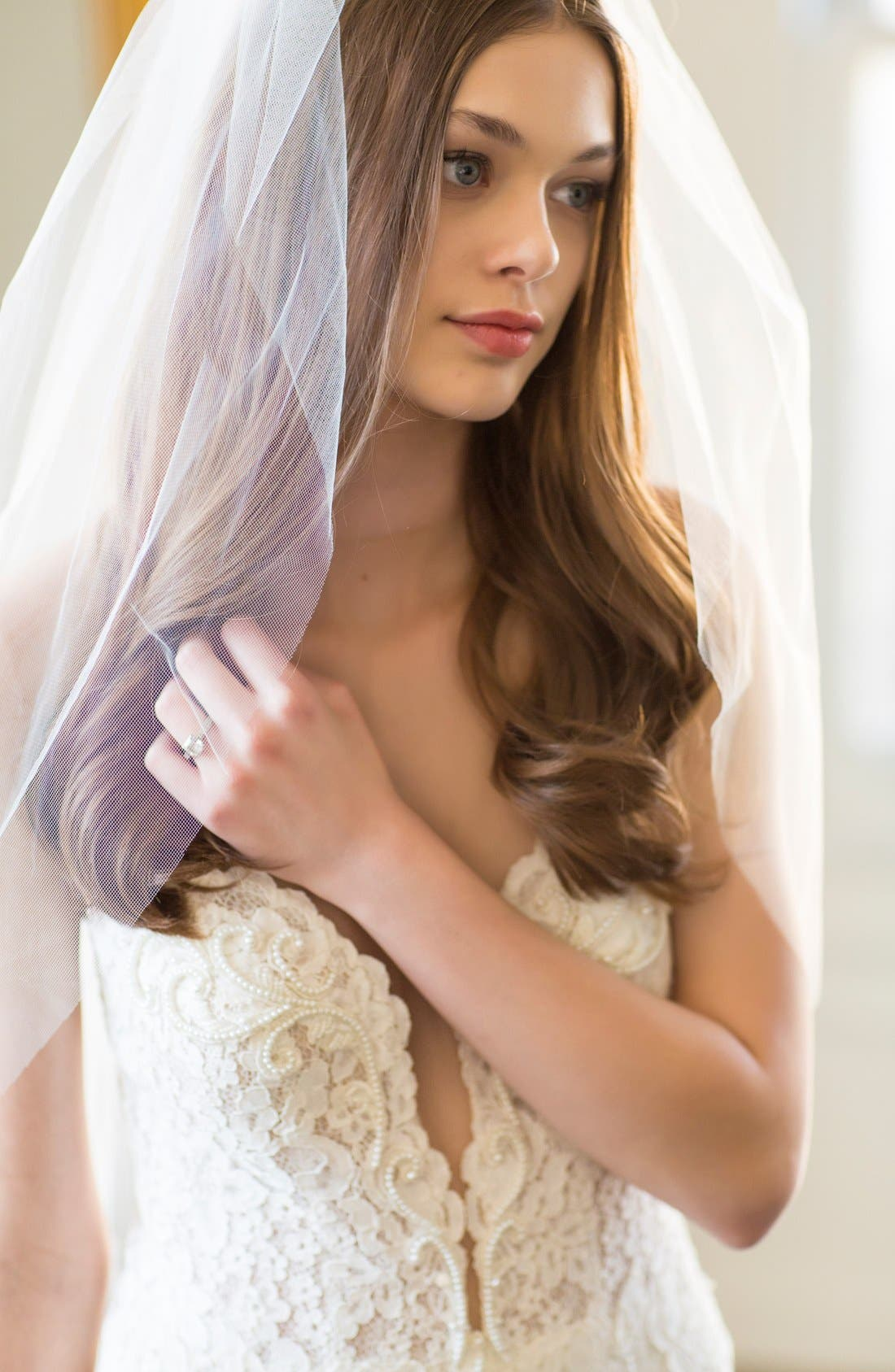 BRIDES & HAIRPINS, 'Christina' Tulle Veil, Alternate thumbnail 2, color, WHITE