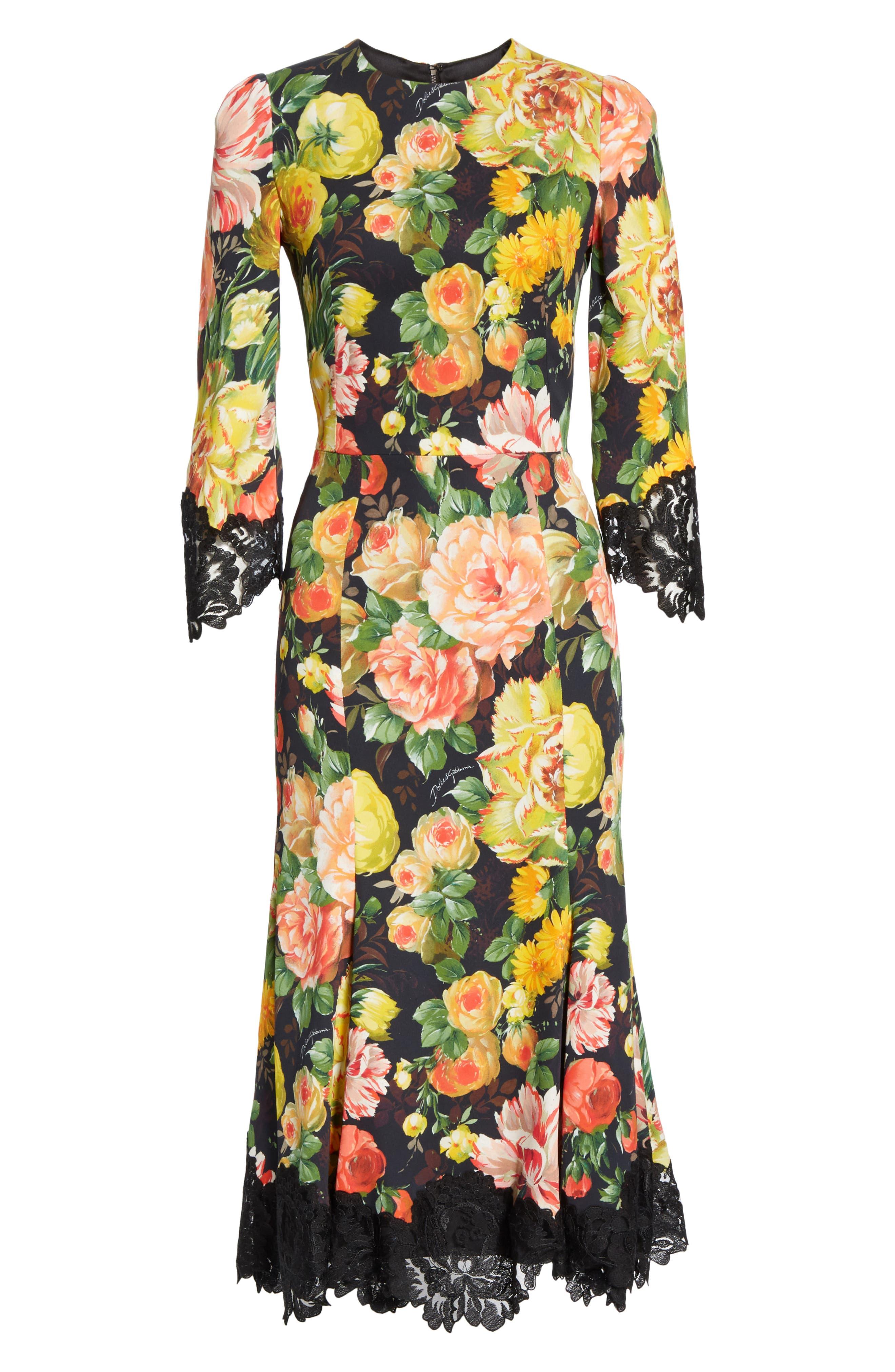 Dolce & gabbana Lace Trim Floral Print Cady Dress, US / 46 IT - Black