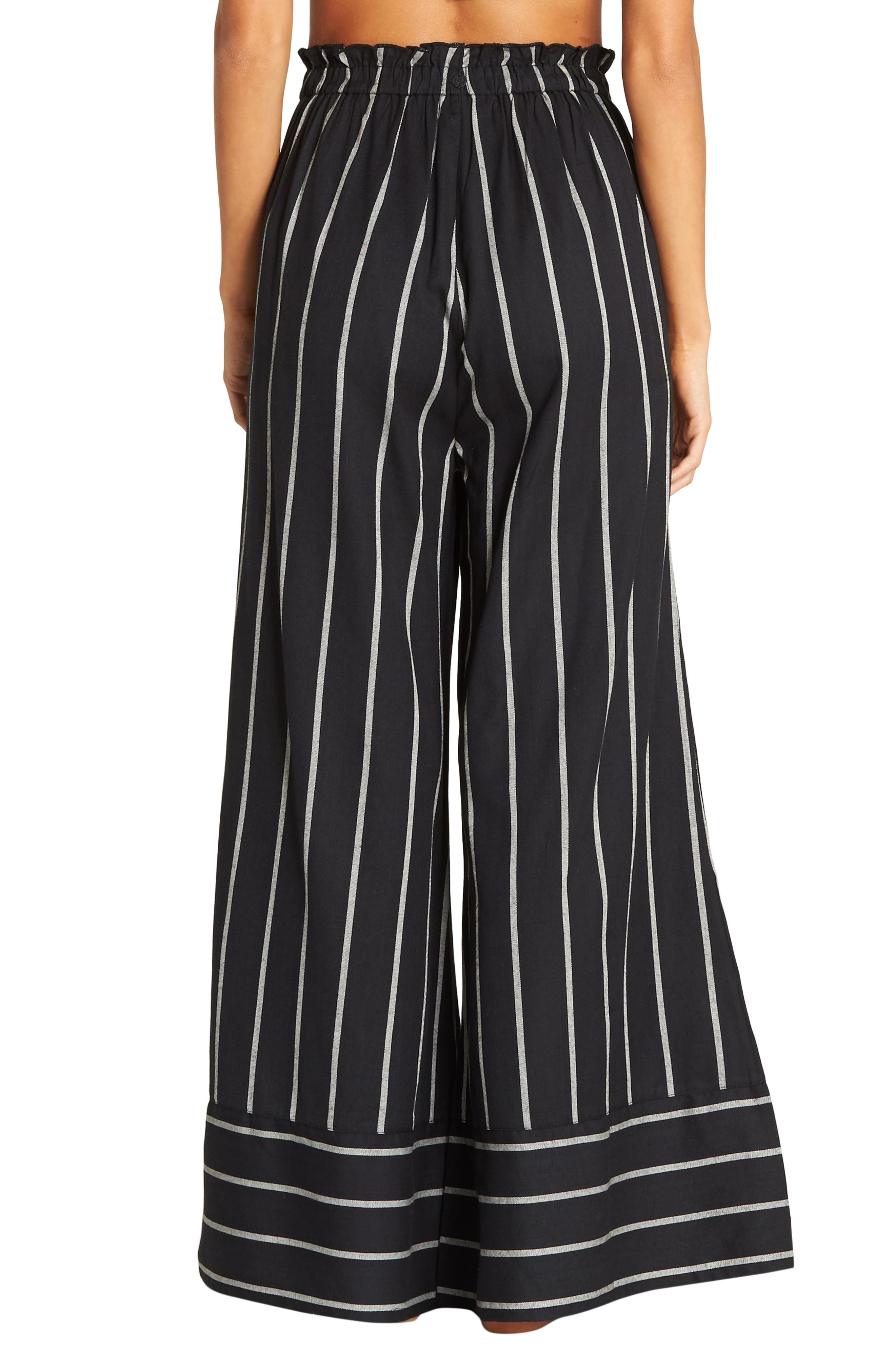 BILLABONG, Flip Out Stripe Wide Leg Pants, Alternate thumbnail 2, color, BLACK