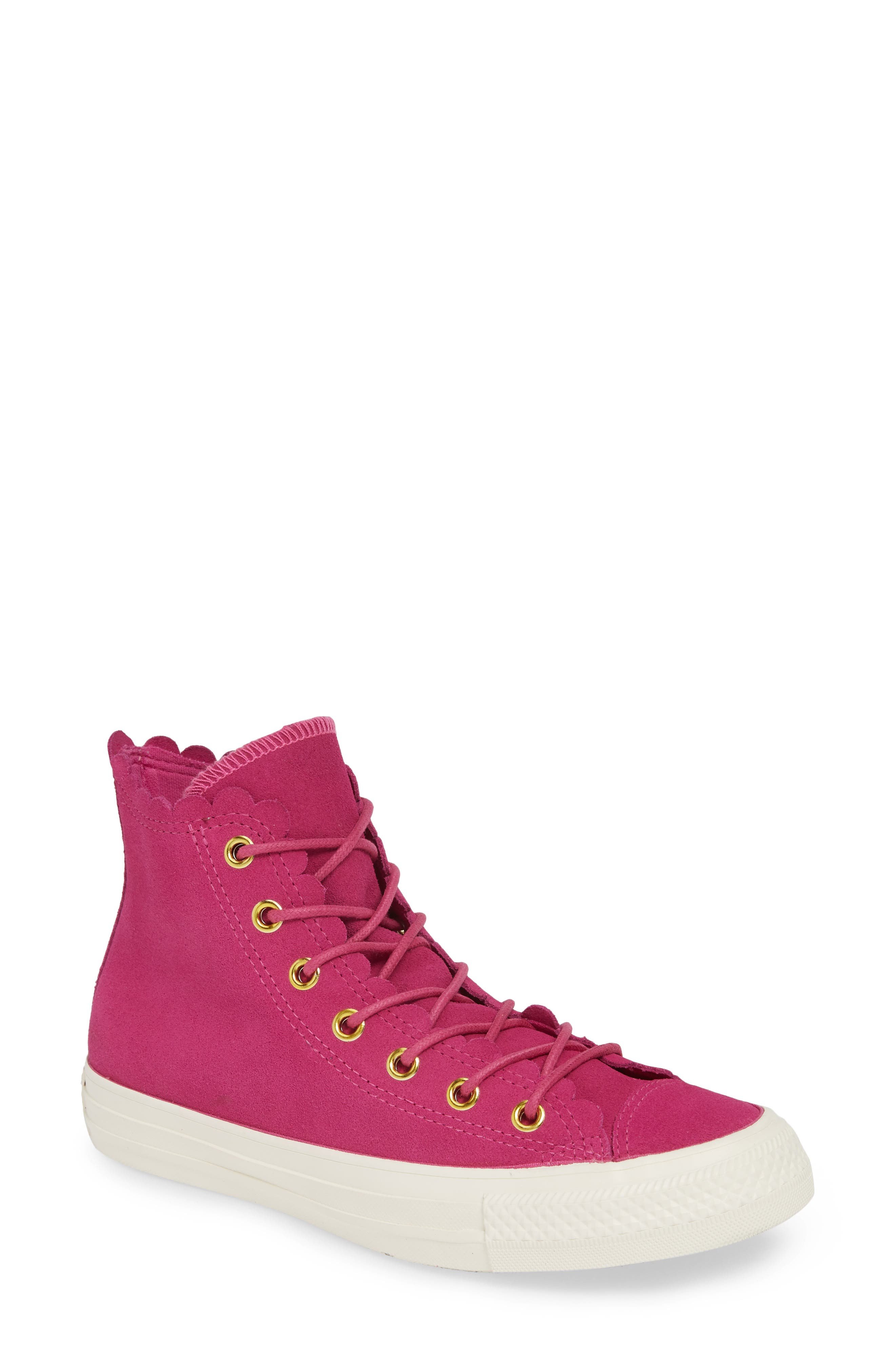 CONVERSE, Chuck Taylor<sup>®</sup> All Star<sup>®</sup> Scallop High Top Suede Sneaker, Main thumbnail 1, color, ACTIVE FUCHSIA/ GOLD/ EGRET