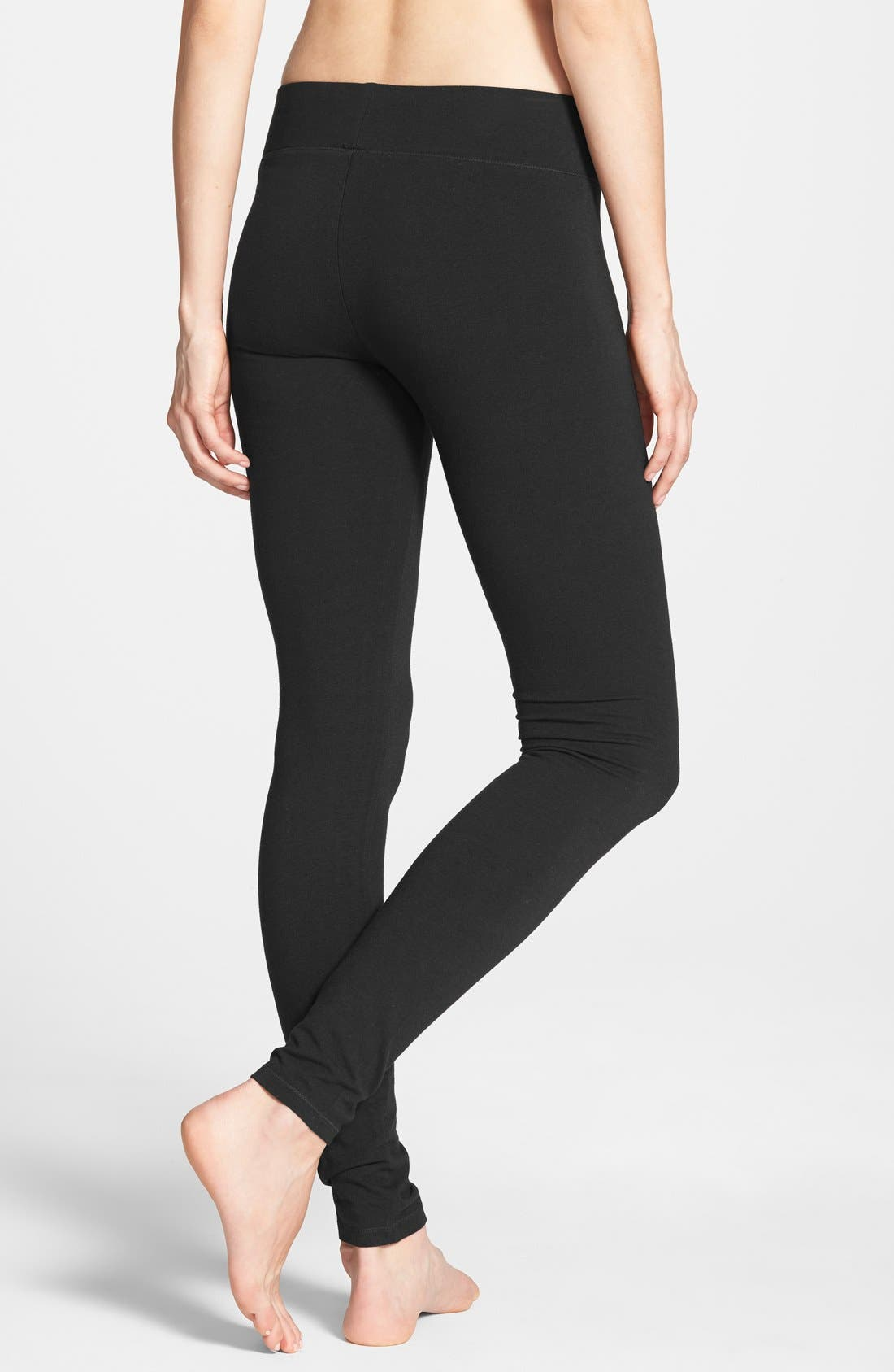 HUE, Ultra Wide Waistband Leggings, Alternate thumbnail 7, color, 001