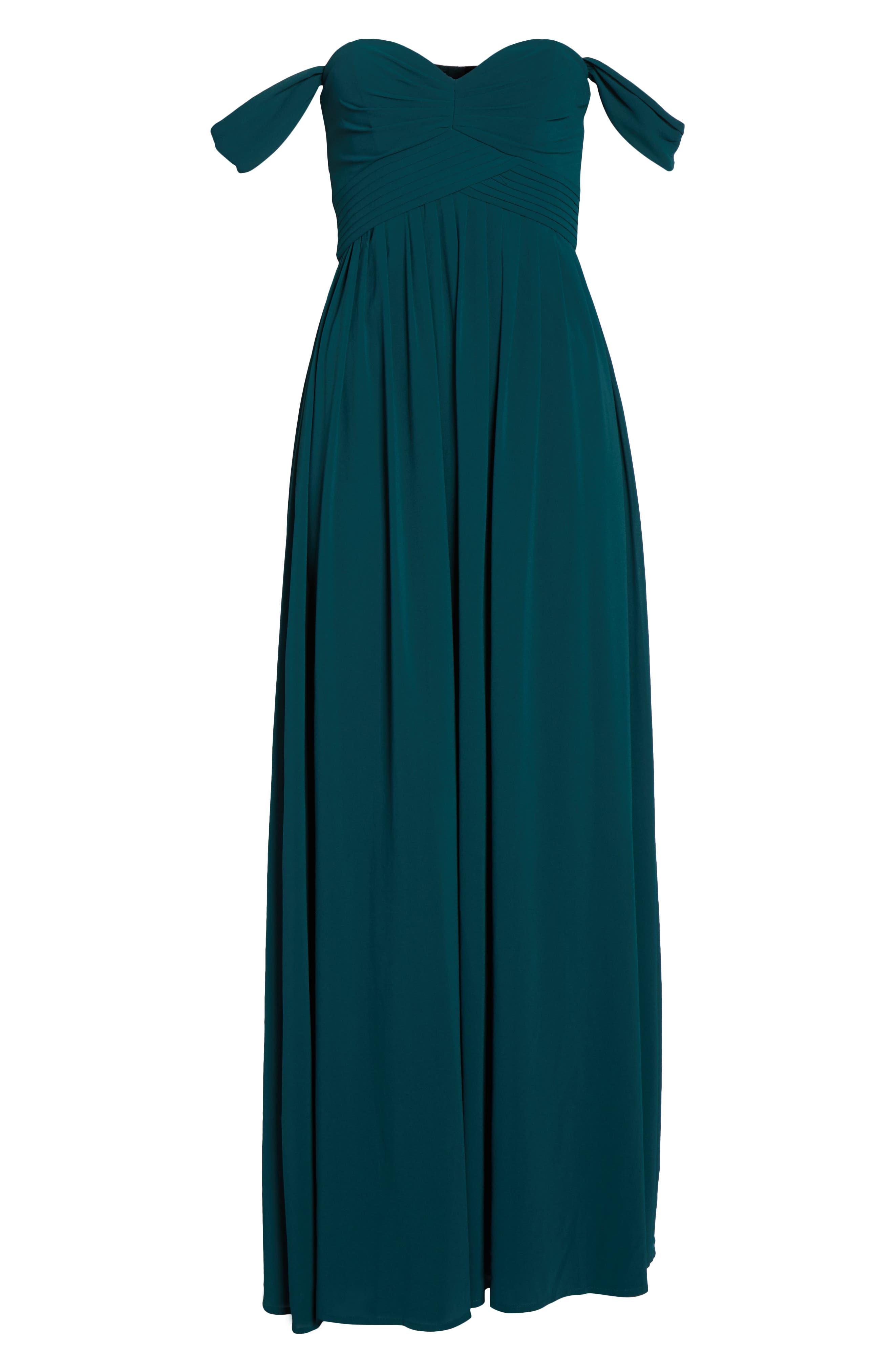 LULUS, Convertible Neckline Chiffon Gown, Alternate thumbnail 6, color, DEEP EMERALD