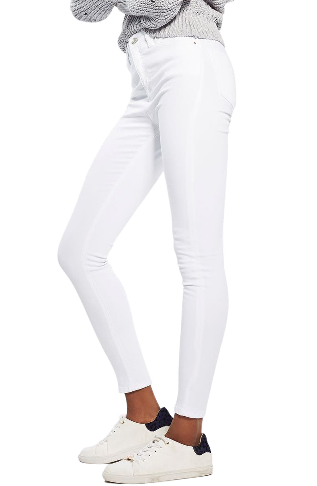 TOPSHOP, Jamie High Waist Ankle Skinny Jeans, Main thumbnail 1, color, WHITE