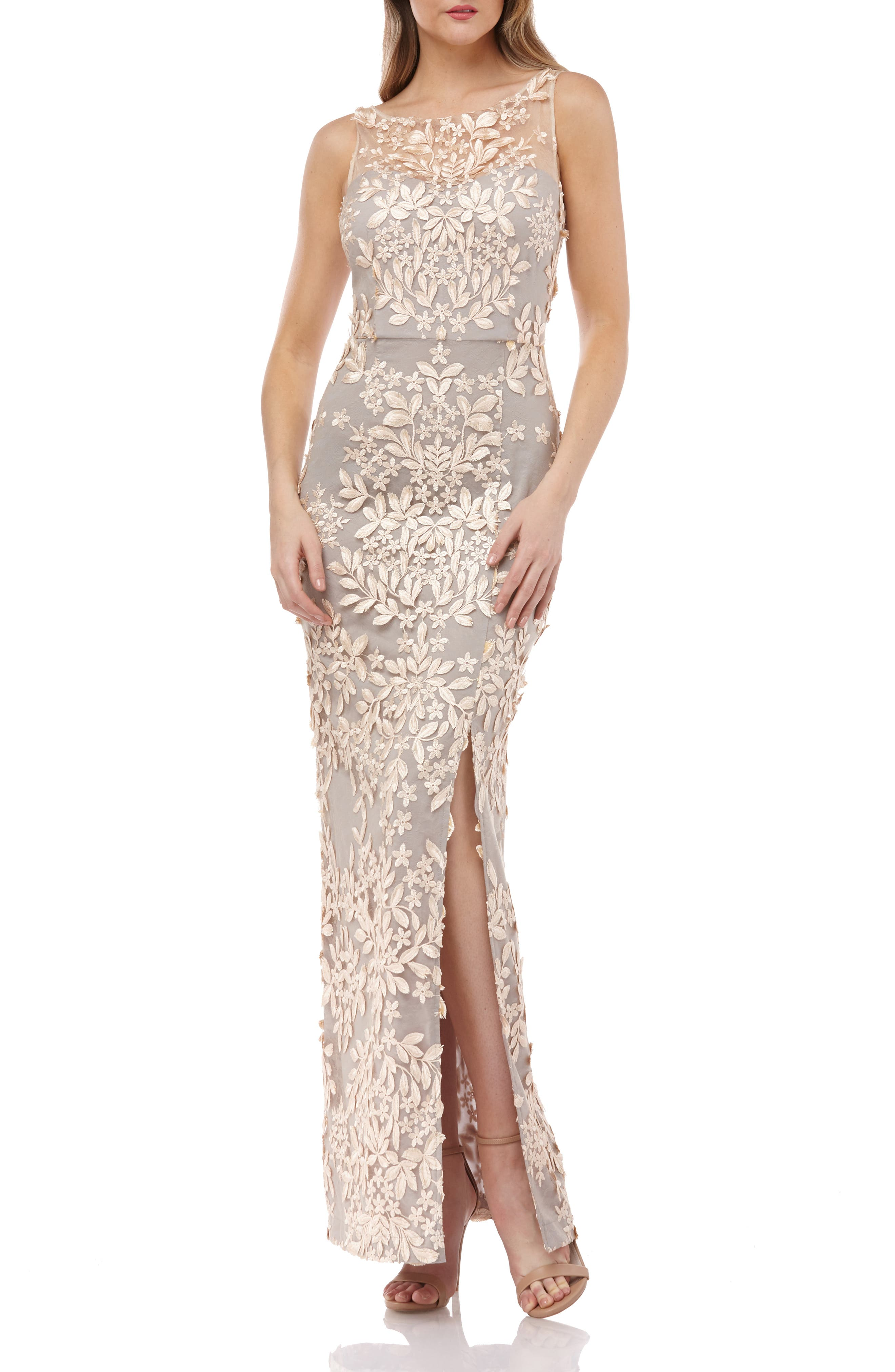 JS COLLECTIONS, Leaf Embroidered Gown, Main thumbnail 1, color, BLUSH/ NUDE