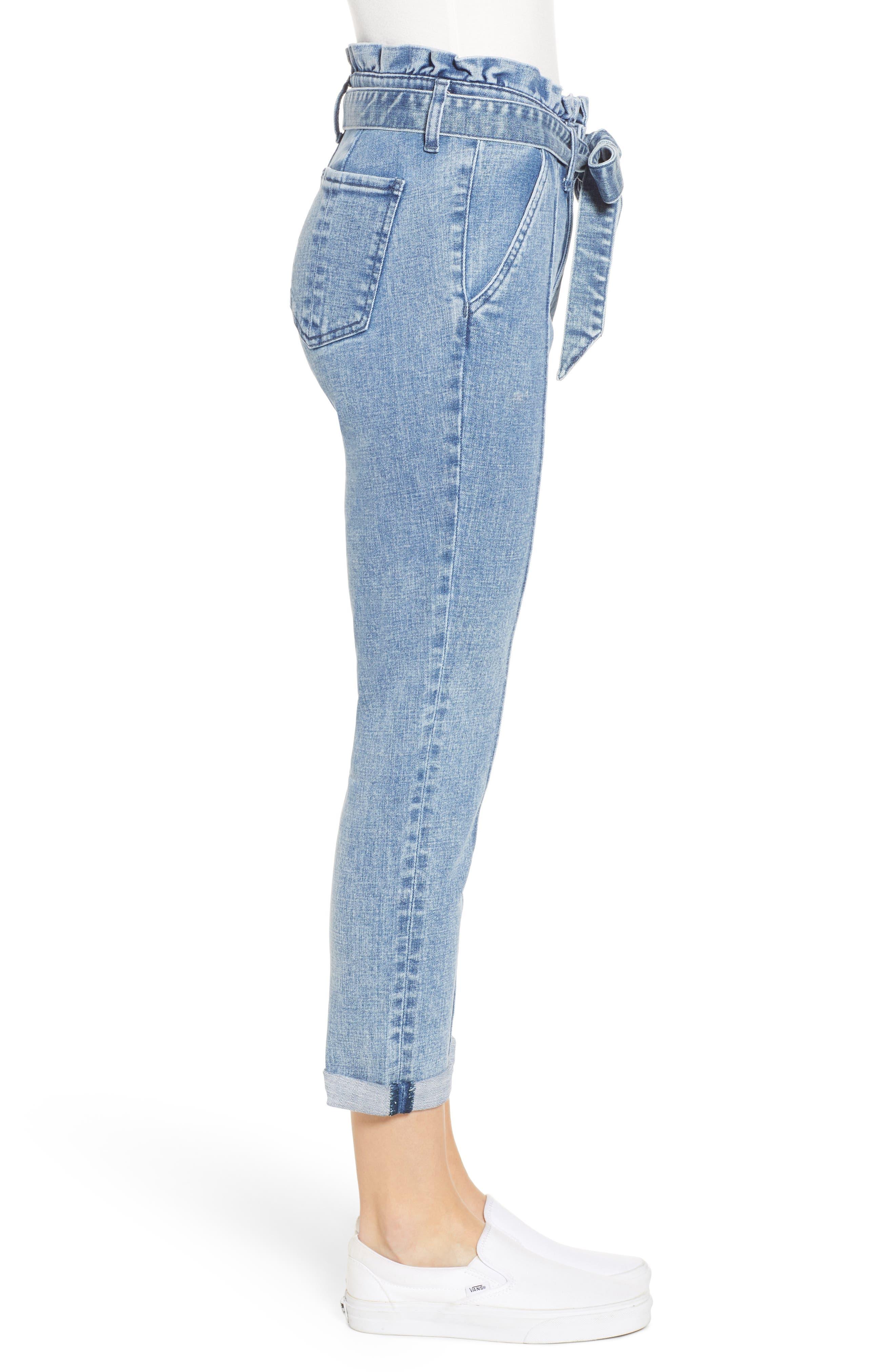 PROSPERITY DENIM, Paperbag Waist Crop Skinny Jeans, Alternate thumbnail 4, color, MEDIUM LIGHT WASH