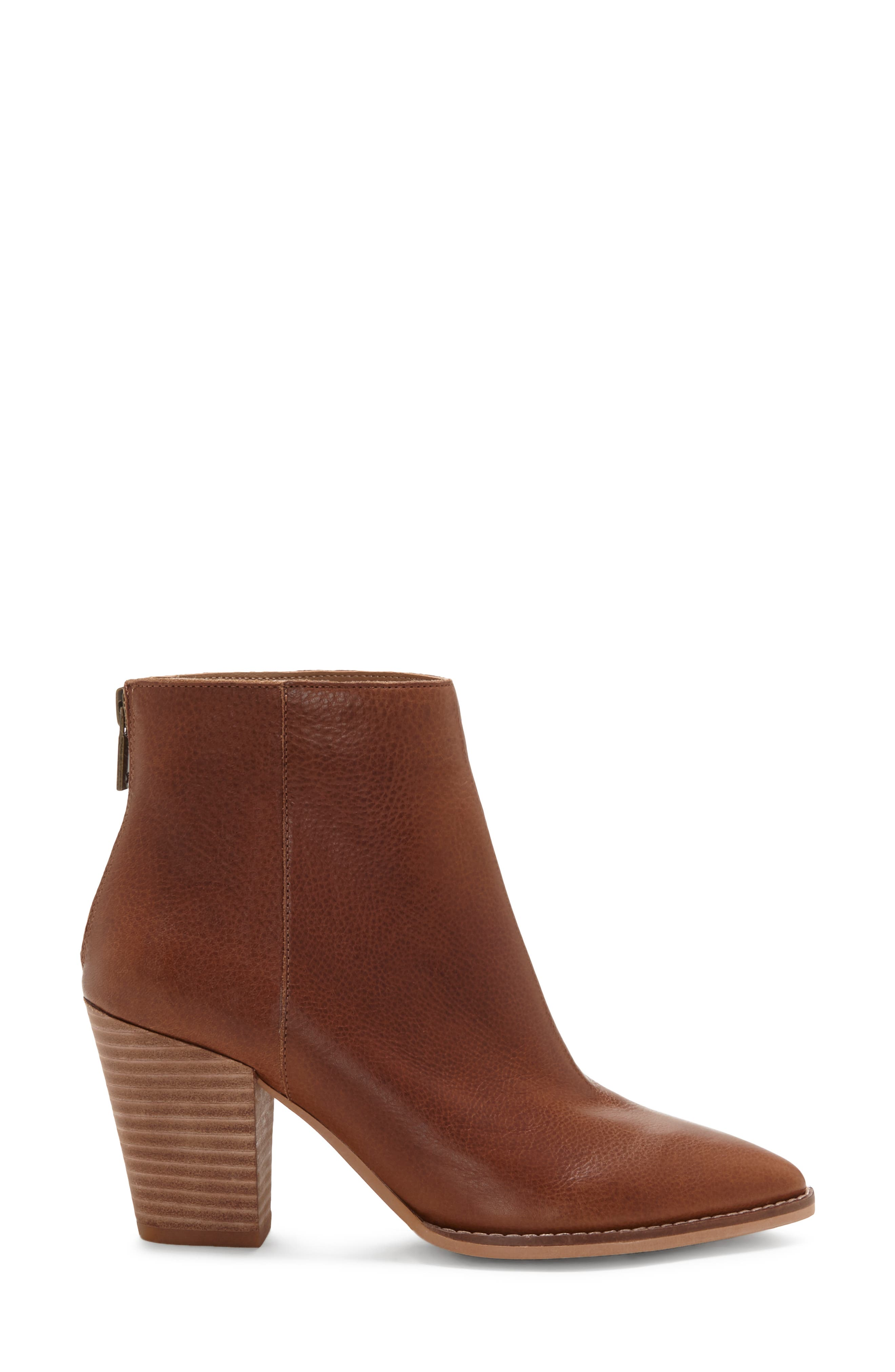LUCKY BRAND, Adalan Bootie, Alternate thumbnail 3, color, MACAROON LEATHER