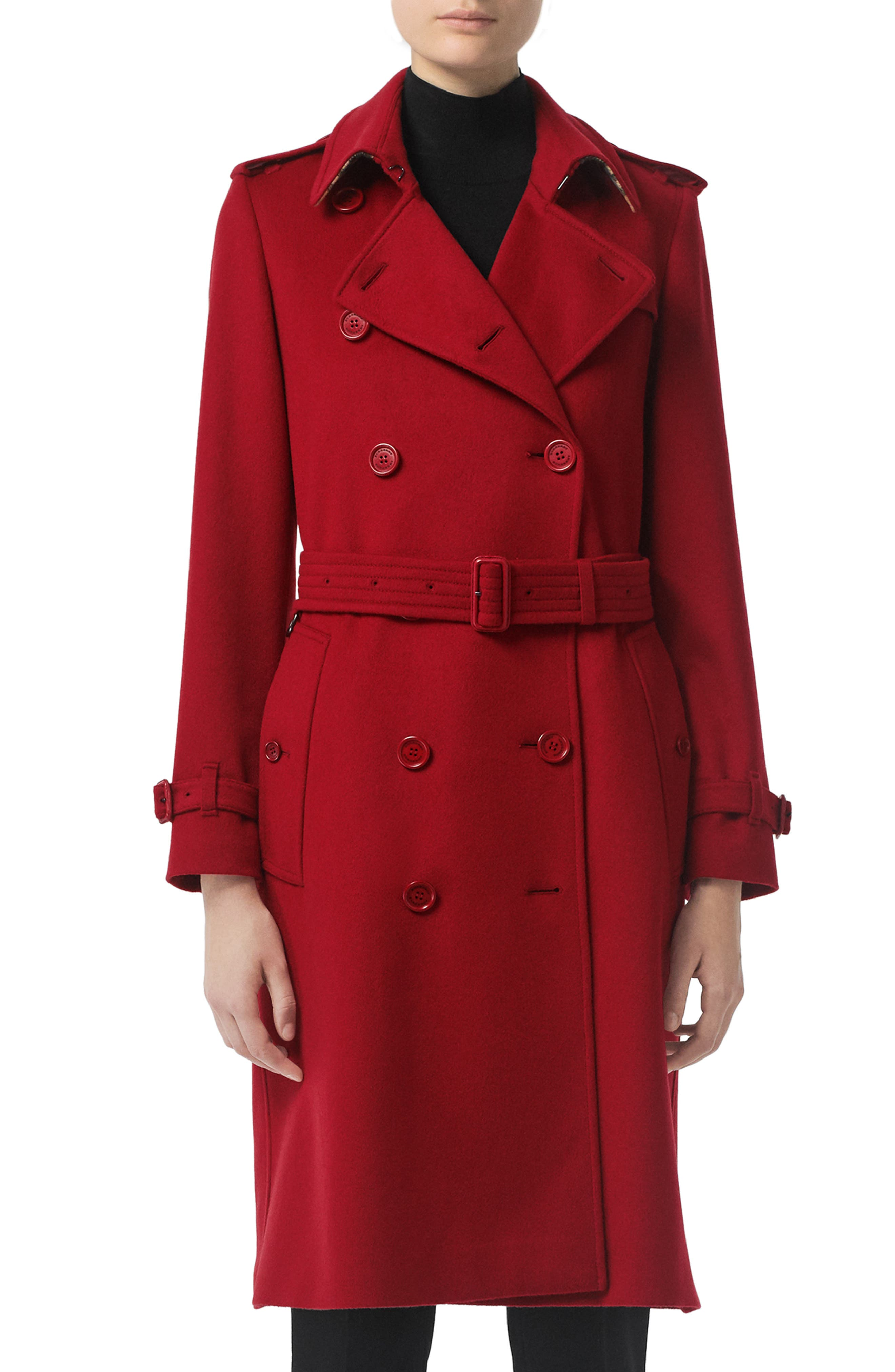BURBERRY, Kensington Cashmere Trench Coat, Main thumbnail 1, color, PARADE RED