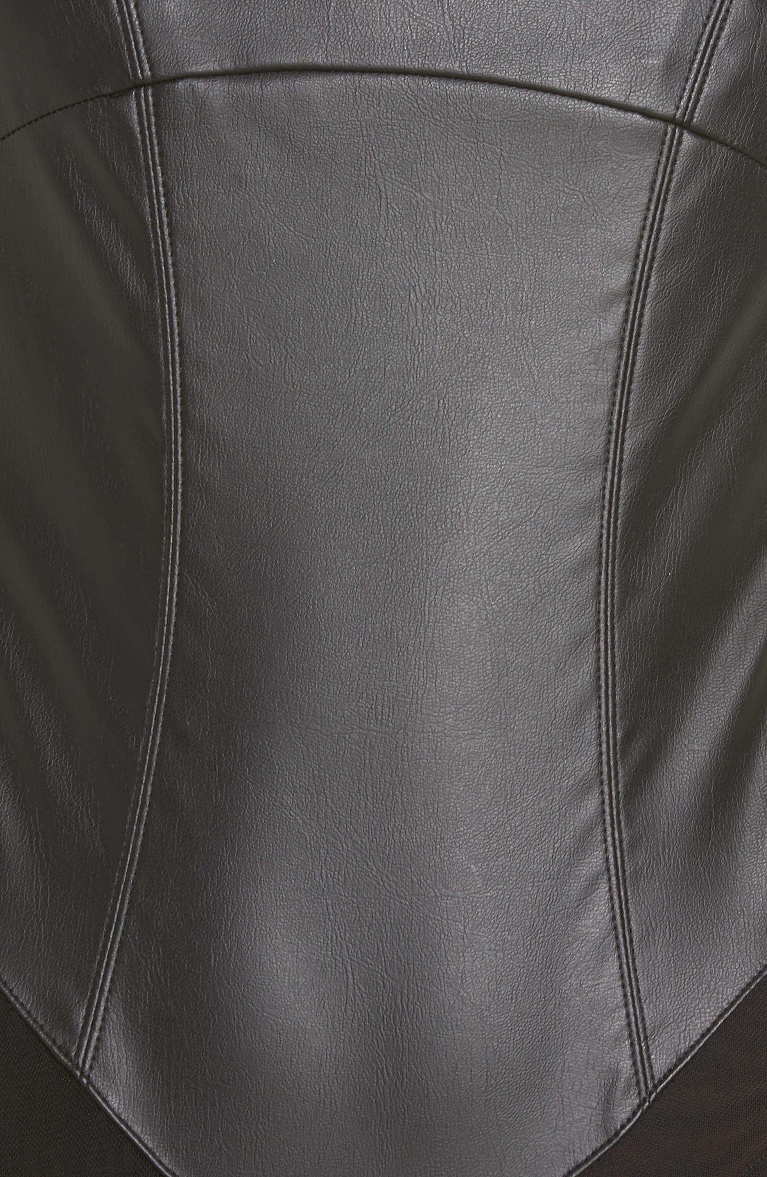 FREE PEOPLE, She's A Vegan Faux Leather Bodysuit, Alternate thumbnail 5, color, 001