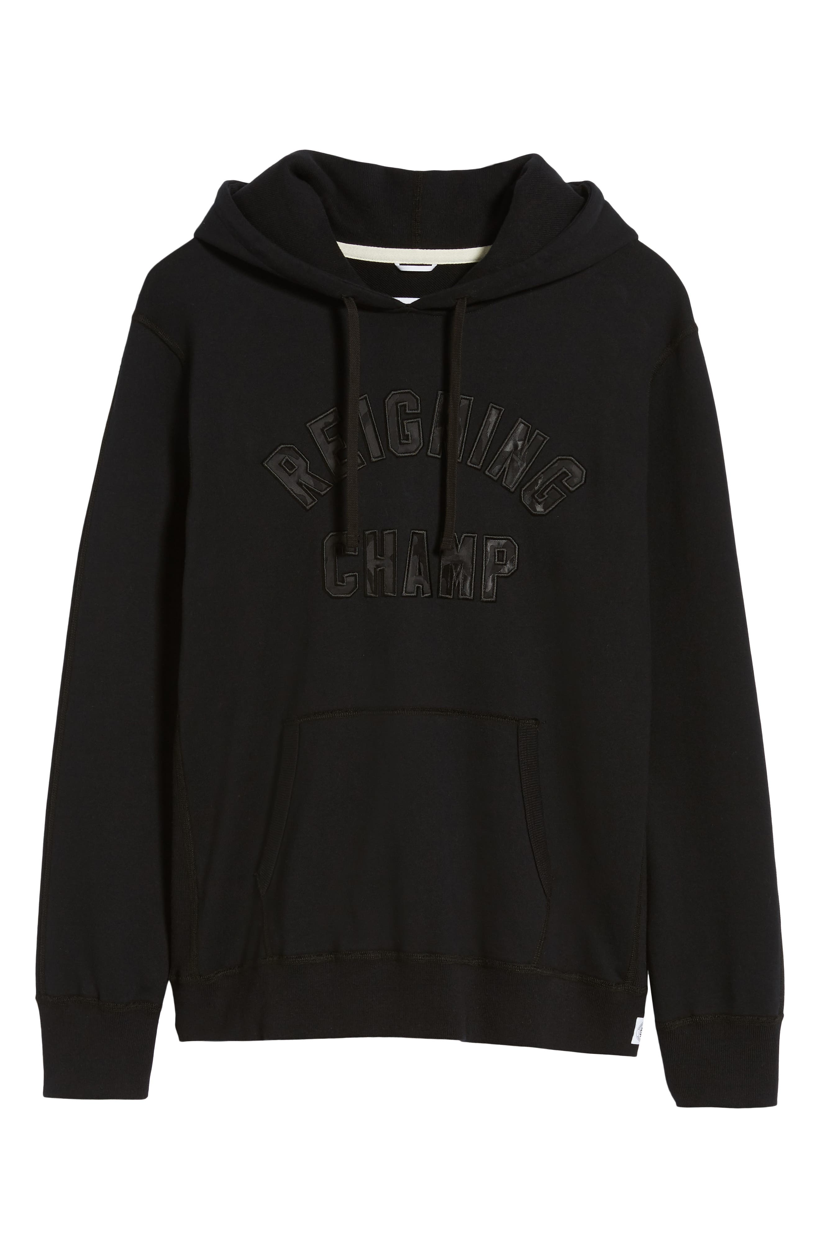 REIGNING CHAMP, Club Logo Hooded Sweatshirt, Alternate thumbnail 6, color, BLACK