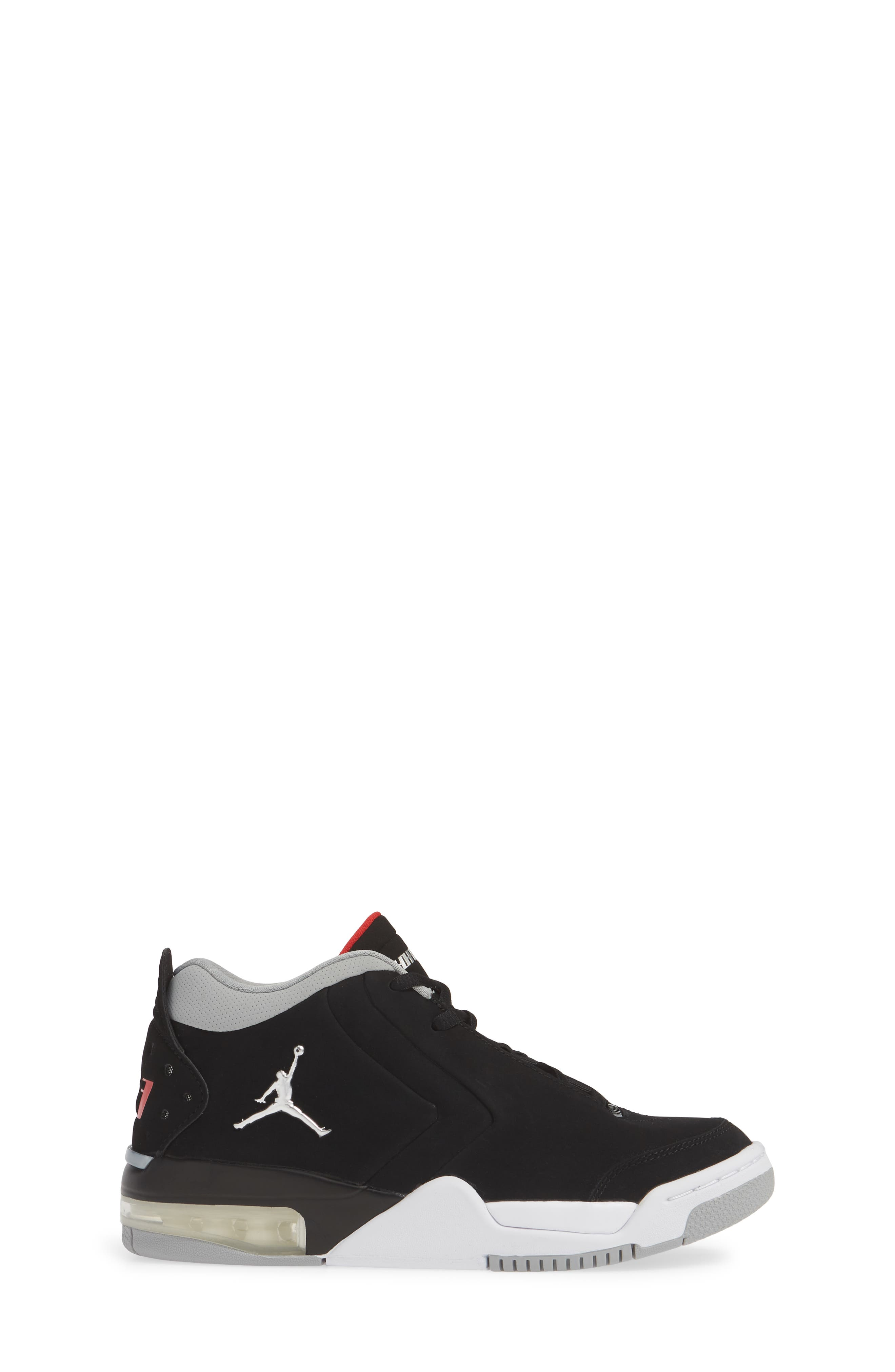 JORDAN, Big Fund Mid Top Basketball Sneaker, Alternate thumbnail 3, color, BLACK/ METALLIC SILVER-WHITE