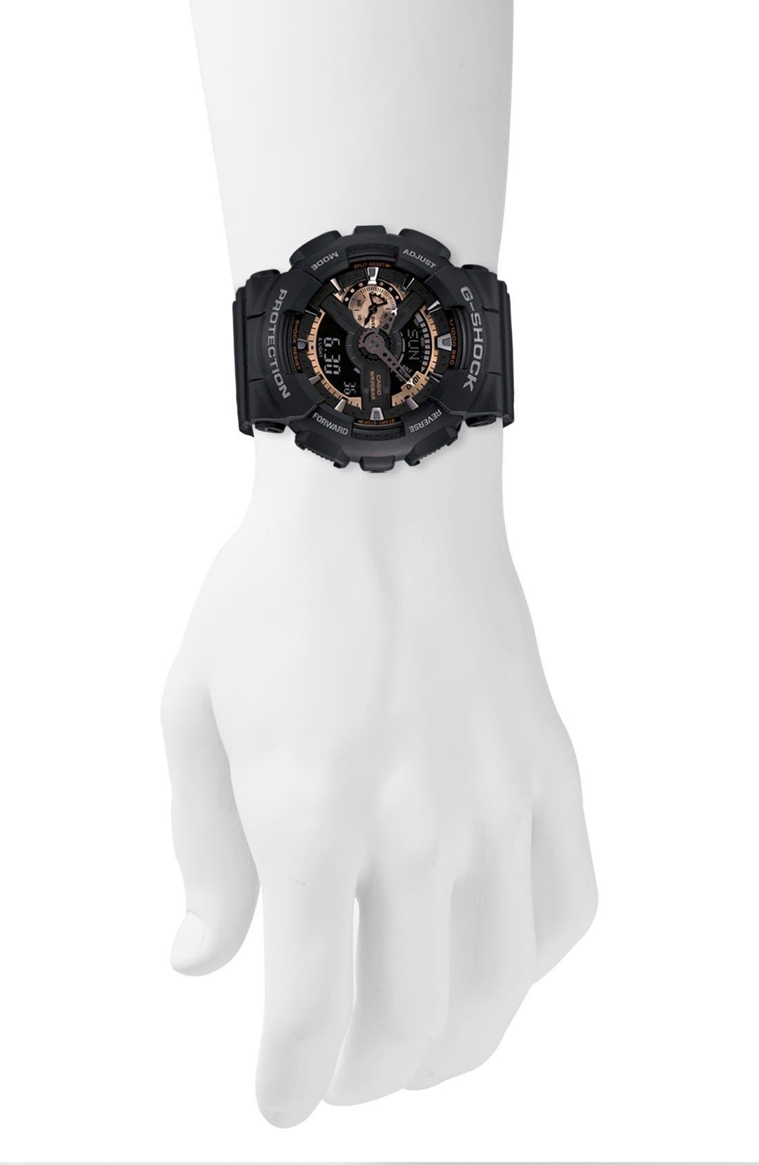G-SHOCK BABY-G, G-Shock 'X-Large' Rose Gold Dial Watch, 55mm, Alternate thumbnail 4, color, BLACK/ ROSEGOLD