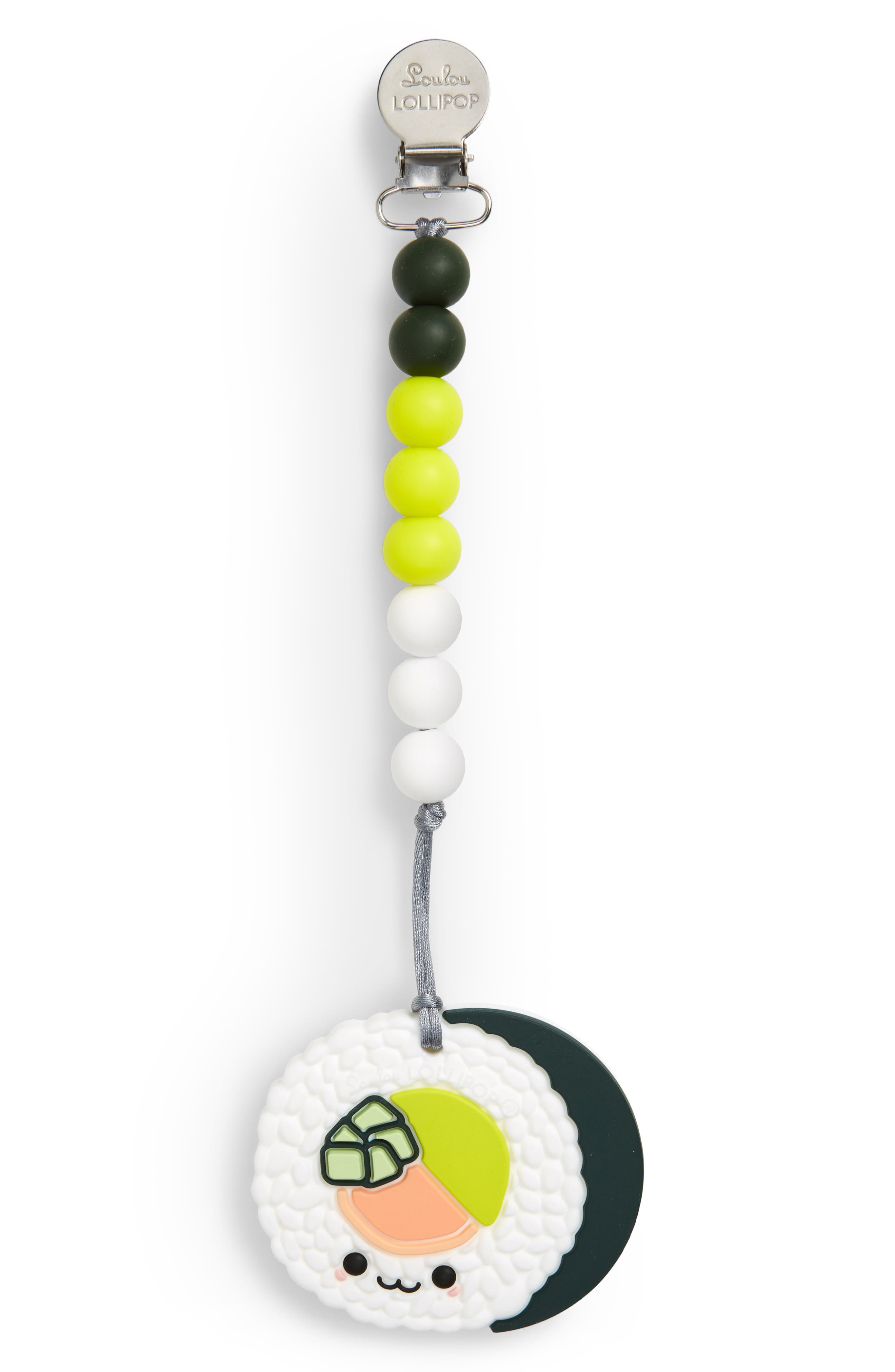 LOULOU LOLLIPOP, Sushi Roll Teething Toy & Holder, Main thumbnail 1, color, WHITE MULTI