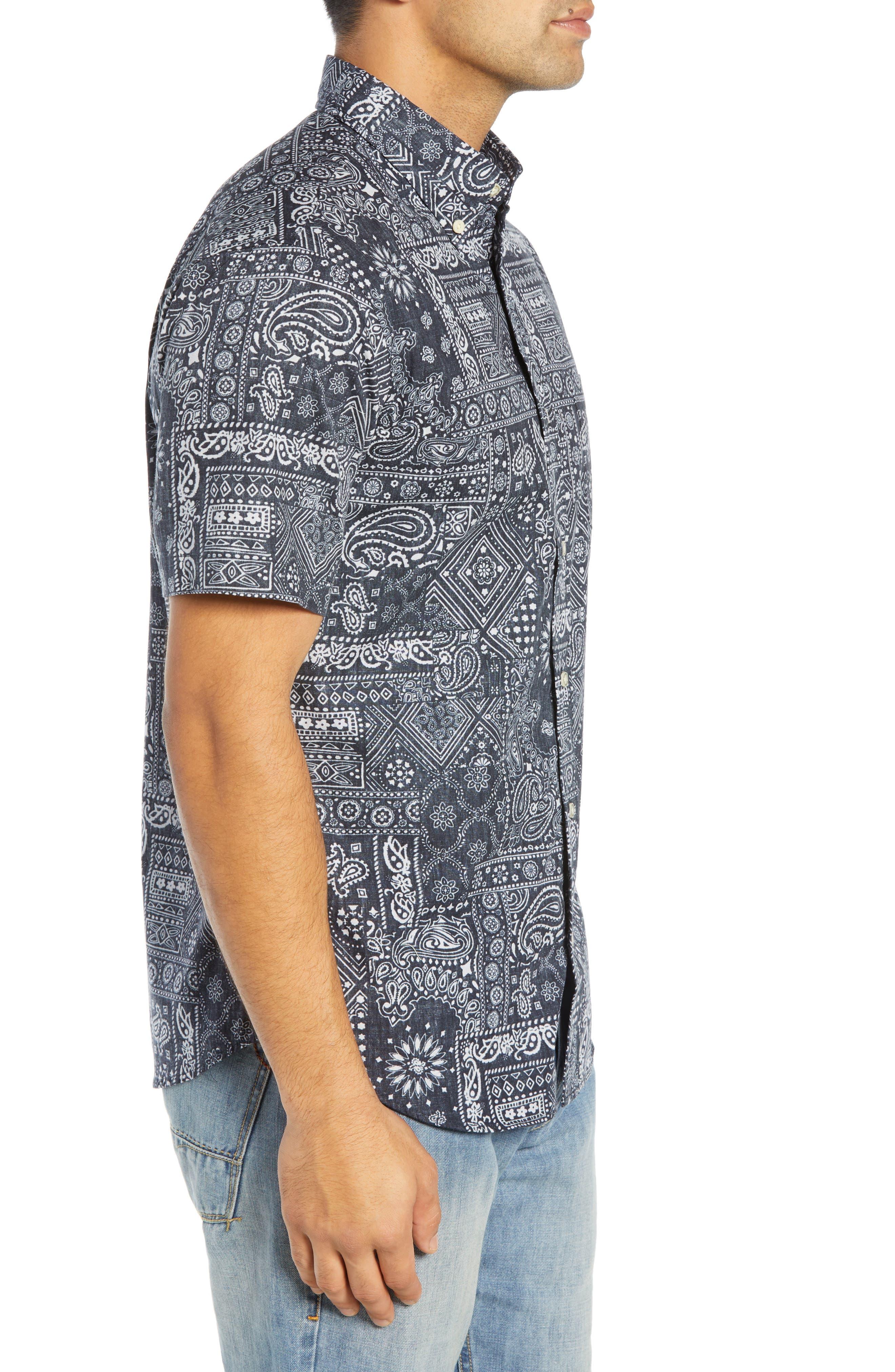 REYN SPOONER, Aloha Bandana Regular Fit Sport Shirt, Alternate thumbnail 4, color, 001