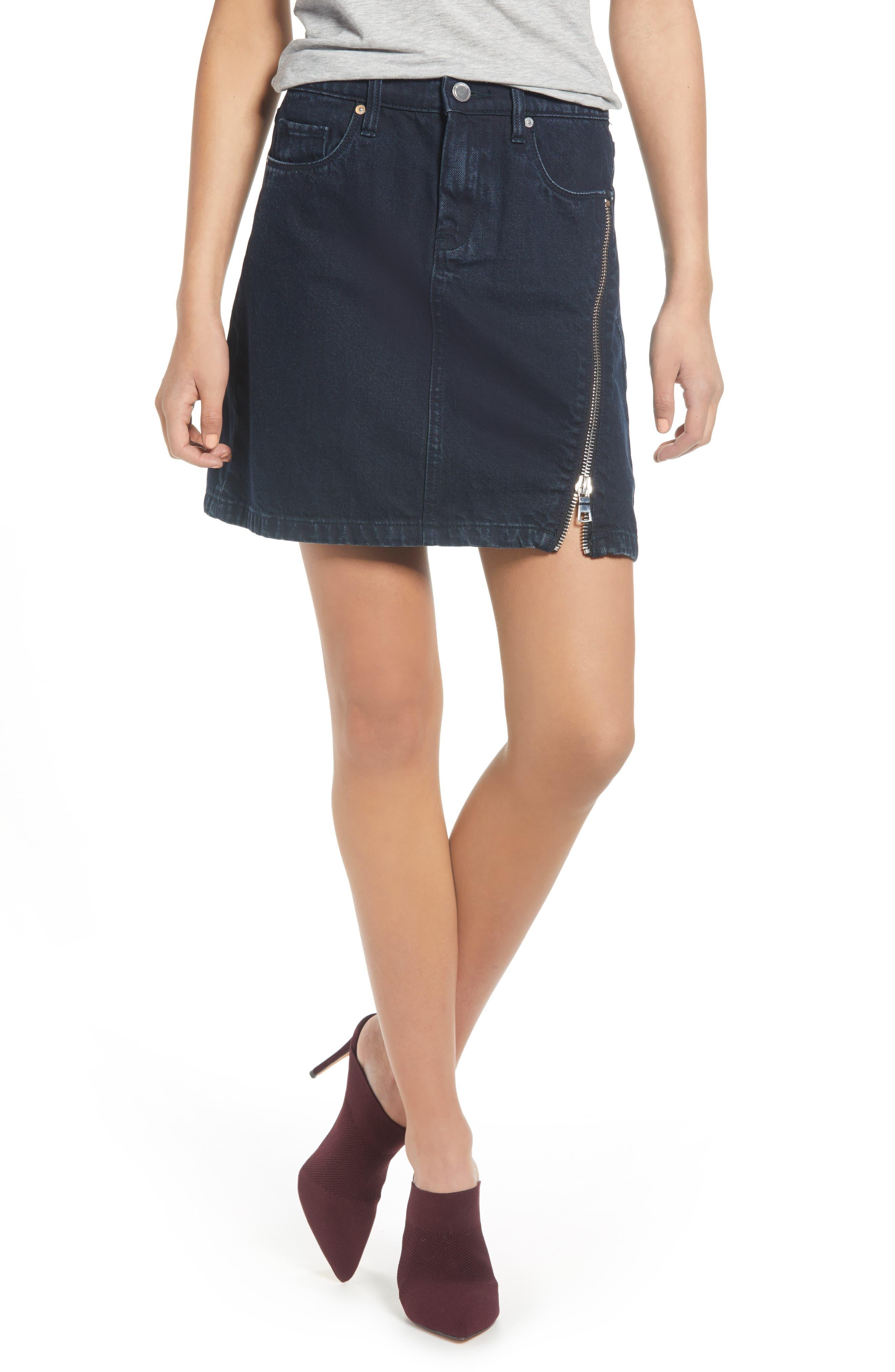 Asymmetrical Zip Denim Skirt by Blanknyc