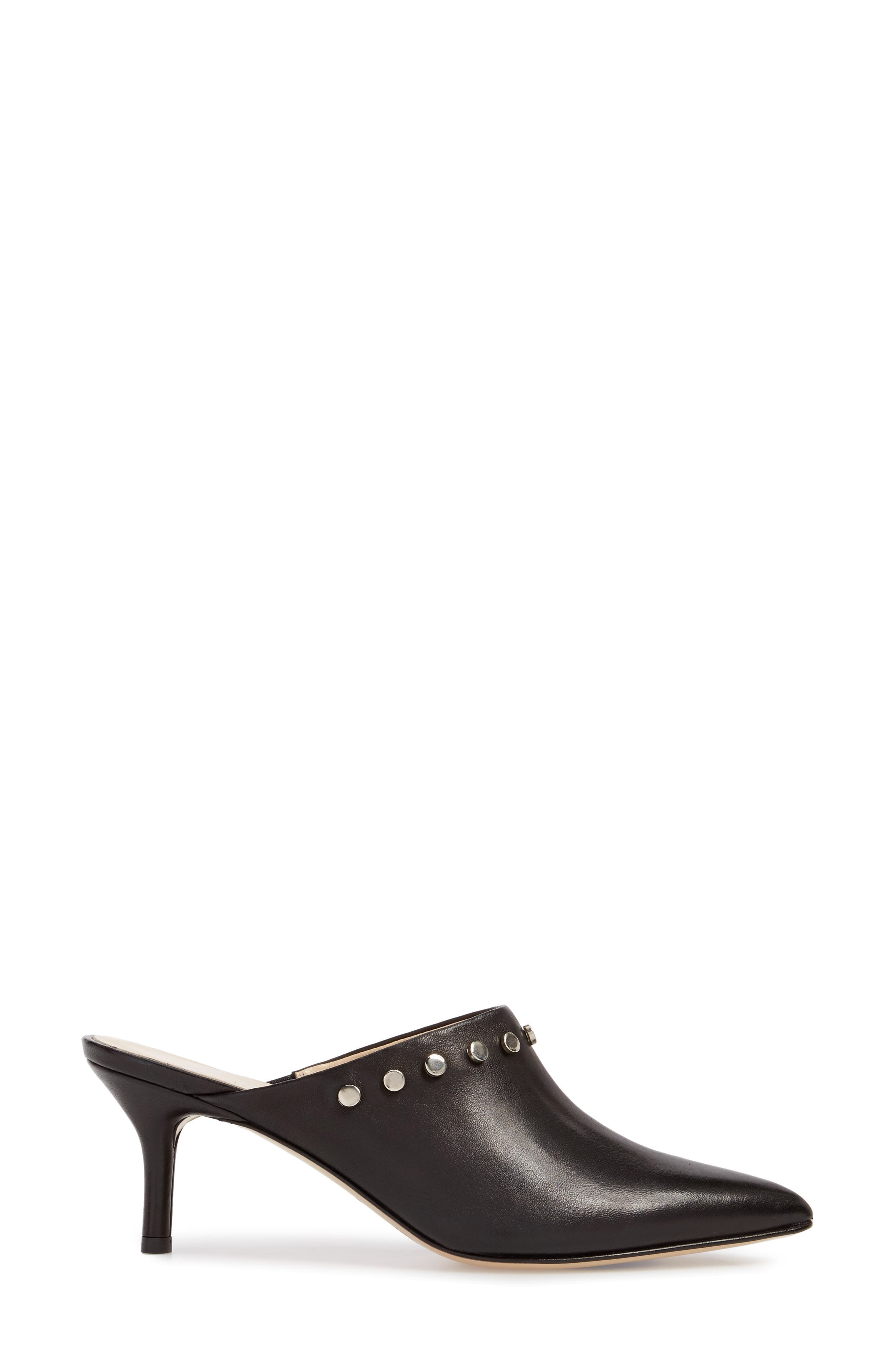 AMALFI BY RANGONI, Priamo Mule, Alternate thumbnail 3, color, BLACK LEATHER