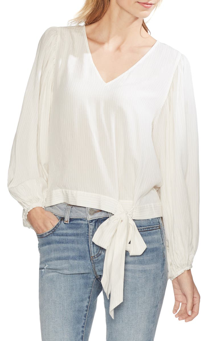 Vince Camuto Tops METALLIC PINSTRIPE TIE WAIST BLOUSE