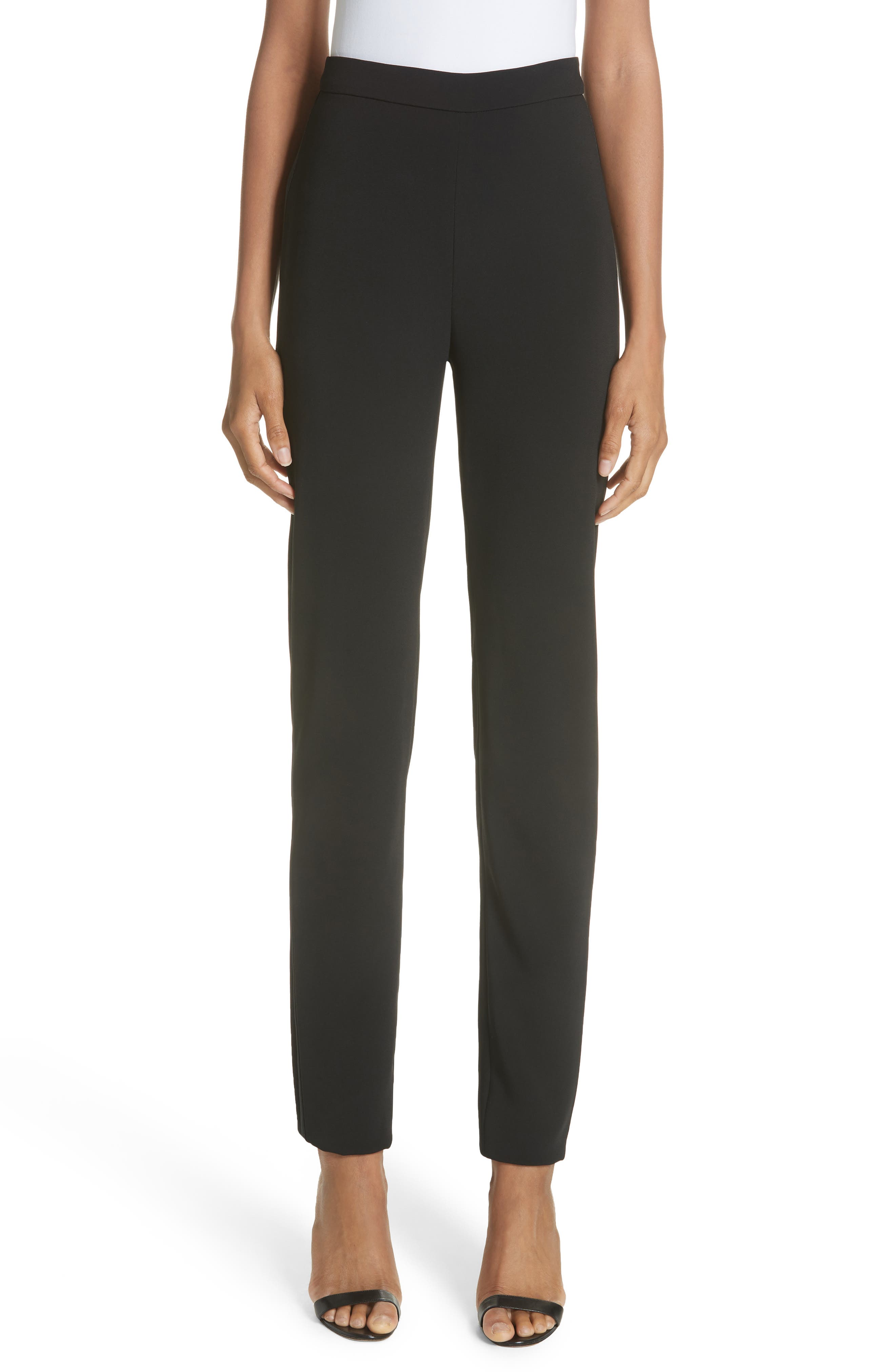 BRANDON MAXWELL Stretch Crepe Cigarette Pants, Main, color, BLACK