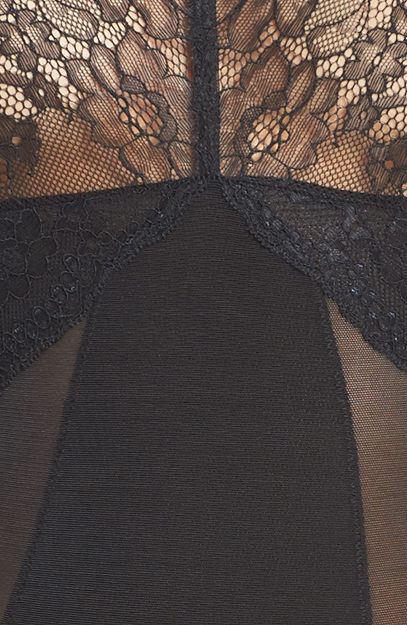 SPANX<SUP>®</SUP>, Spotlight On Lace Bodysuit, Alternate thumbnail 5, color, VERY BLACK