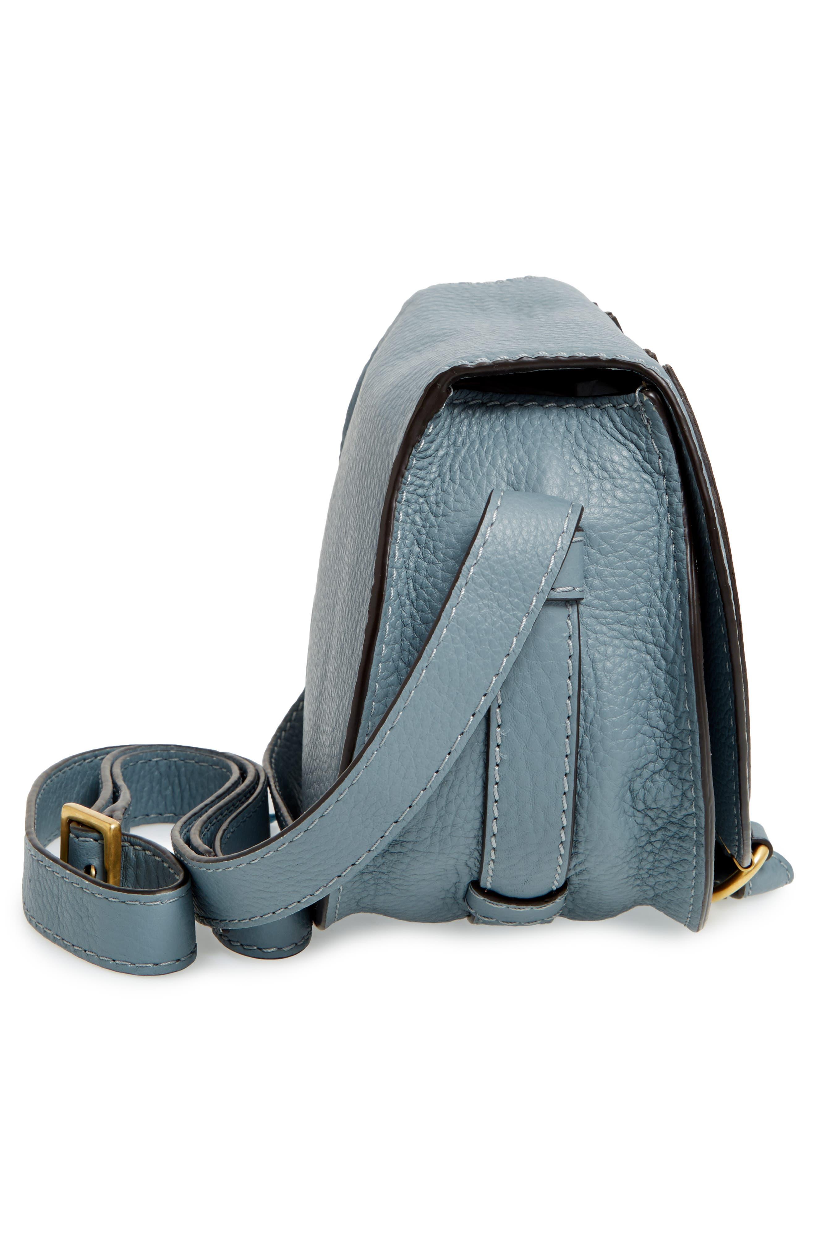 CHLOÉ, 'Mini Marcie' Leather Crossbody Bag, Alternate thumbnail 5, color, BFC CLOUDY BLUE