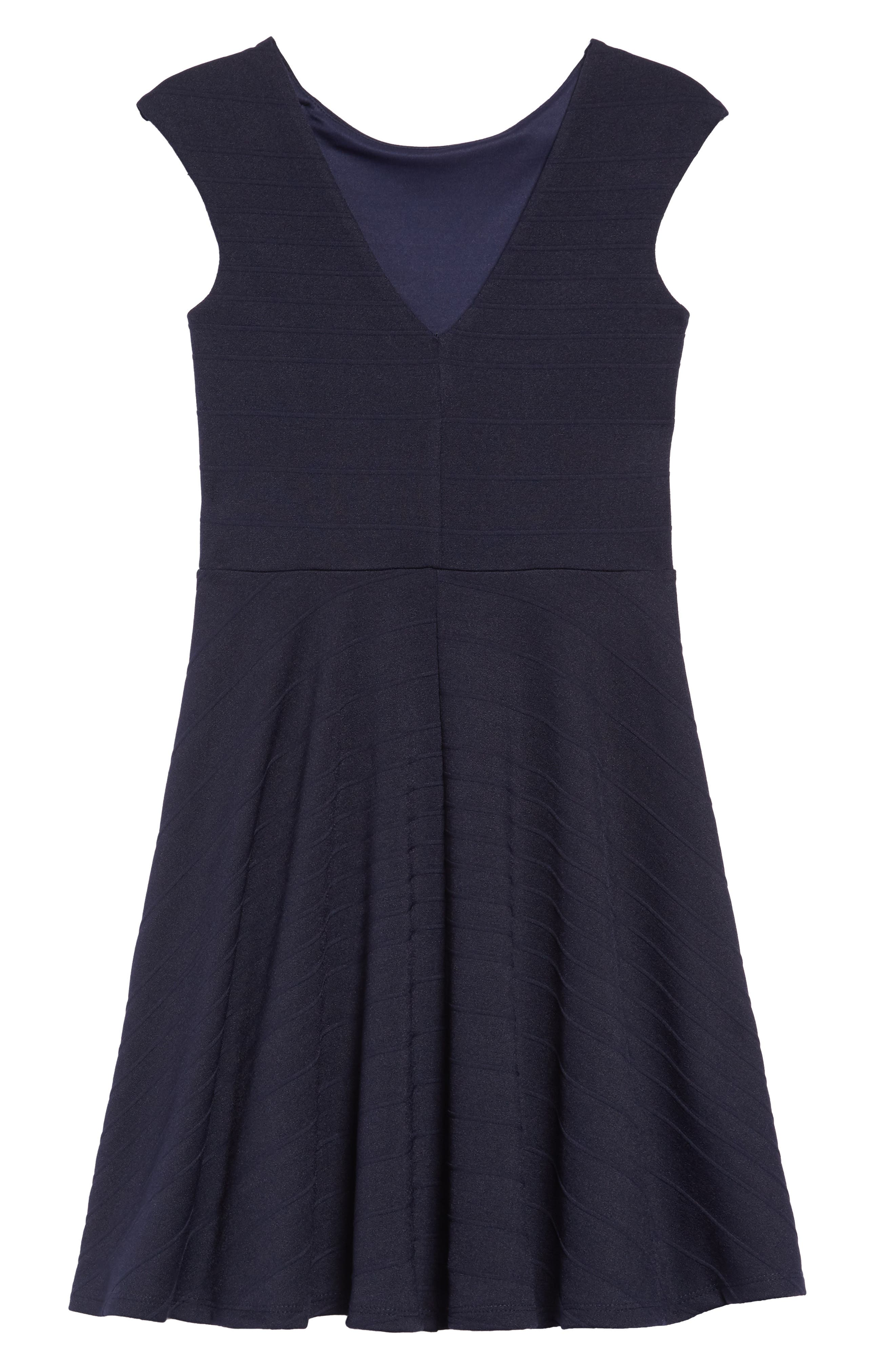 UN DEUX TROIS, Stripe Fit & Flare Dress, Alternate thumbnail 2, color, NAVY