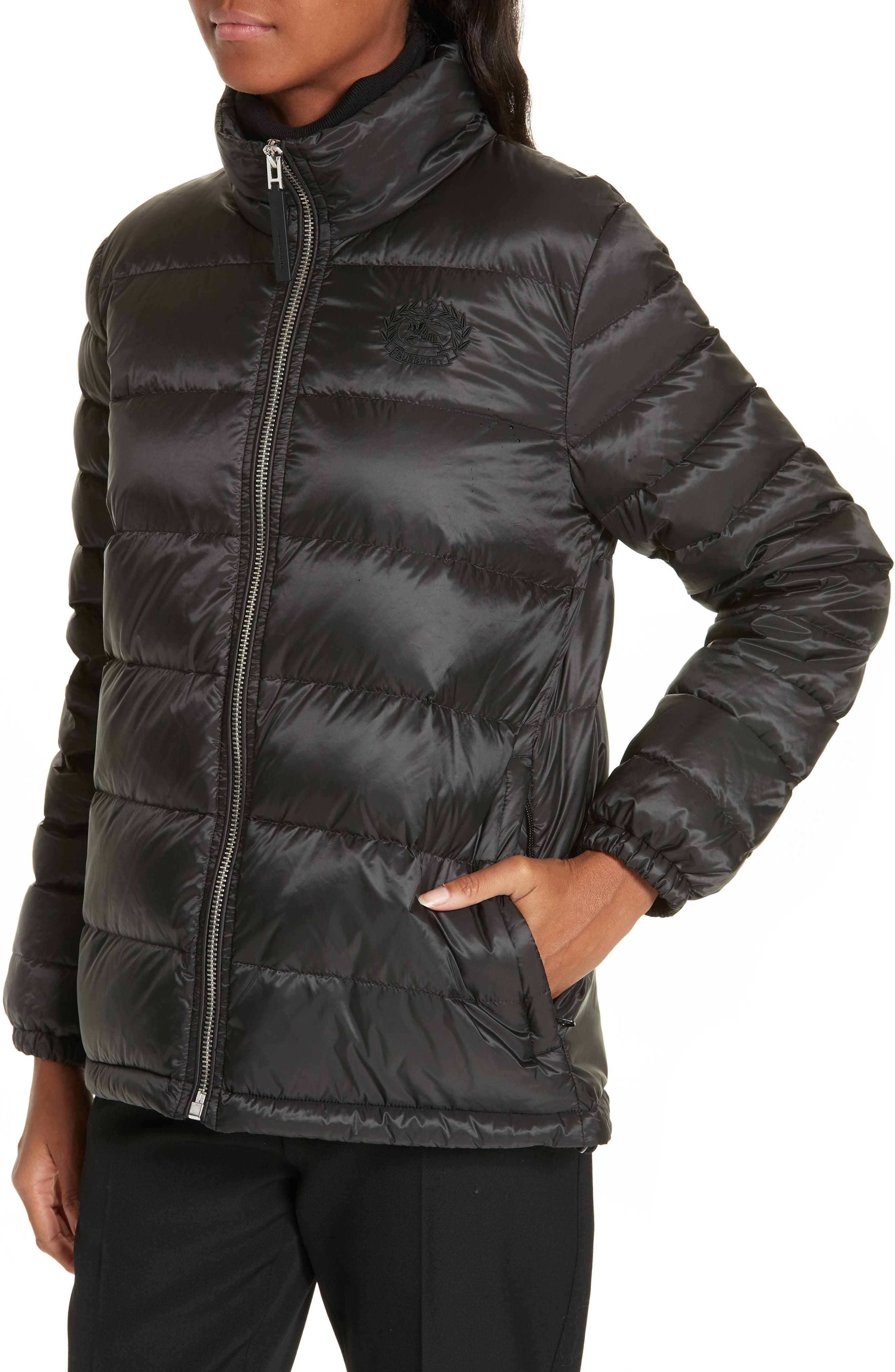 BURBERRY, Smethwick Archive Logo Quilted Down Puffer Coat, Alternate thumbnail 5, color, BLACK