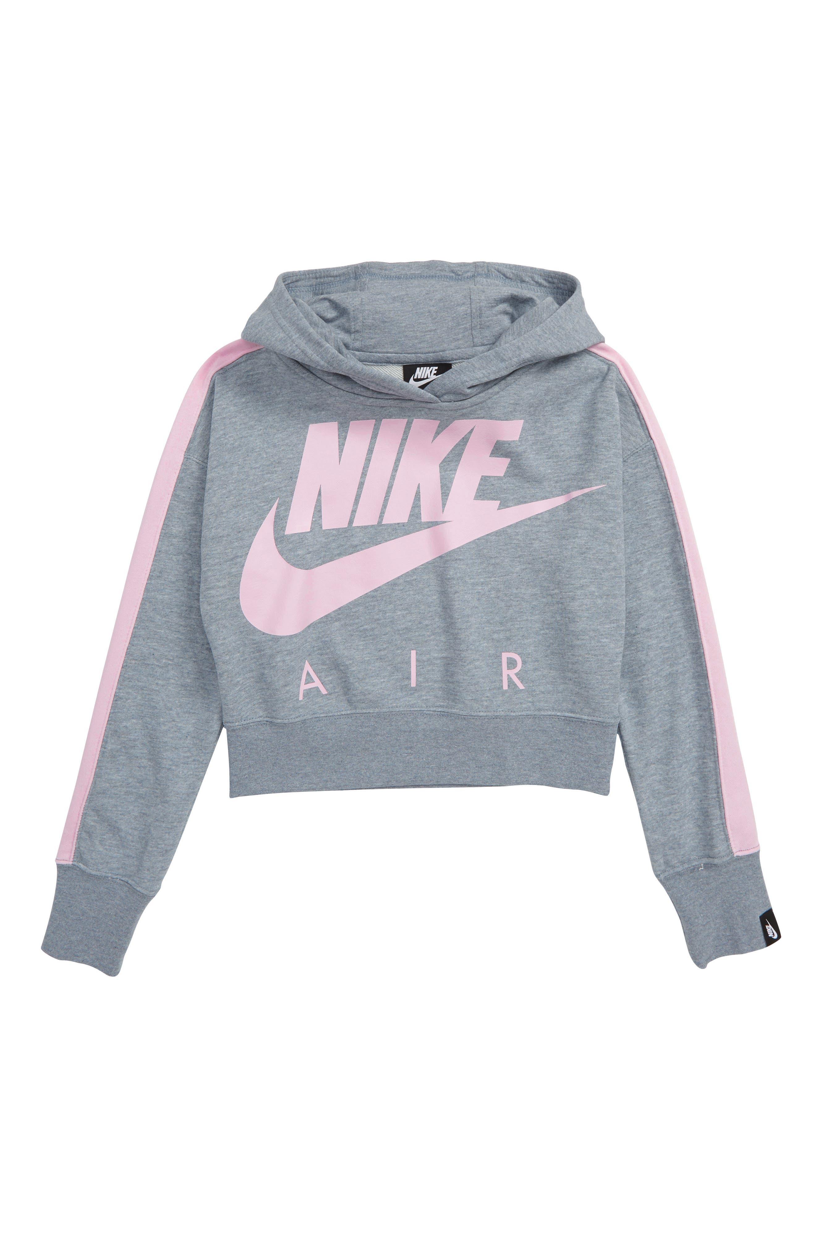 NIKE, Air Logo Crop Sweatshirt, Main thumbnail 1, color, ASHEN SLATE/ HEATHER/ PINK