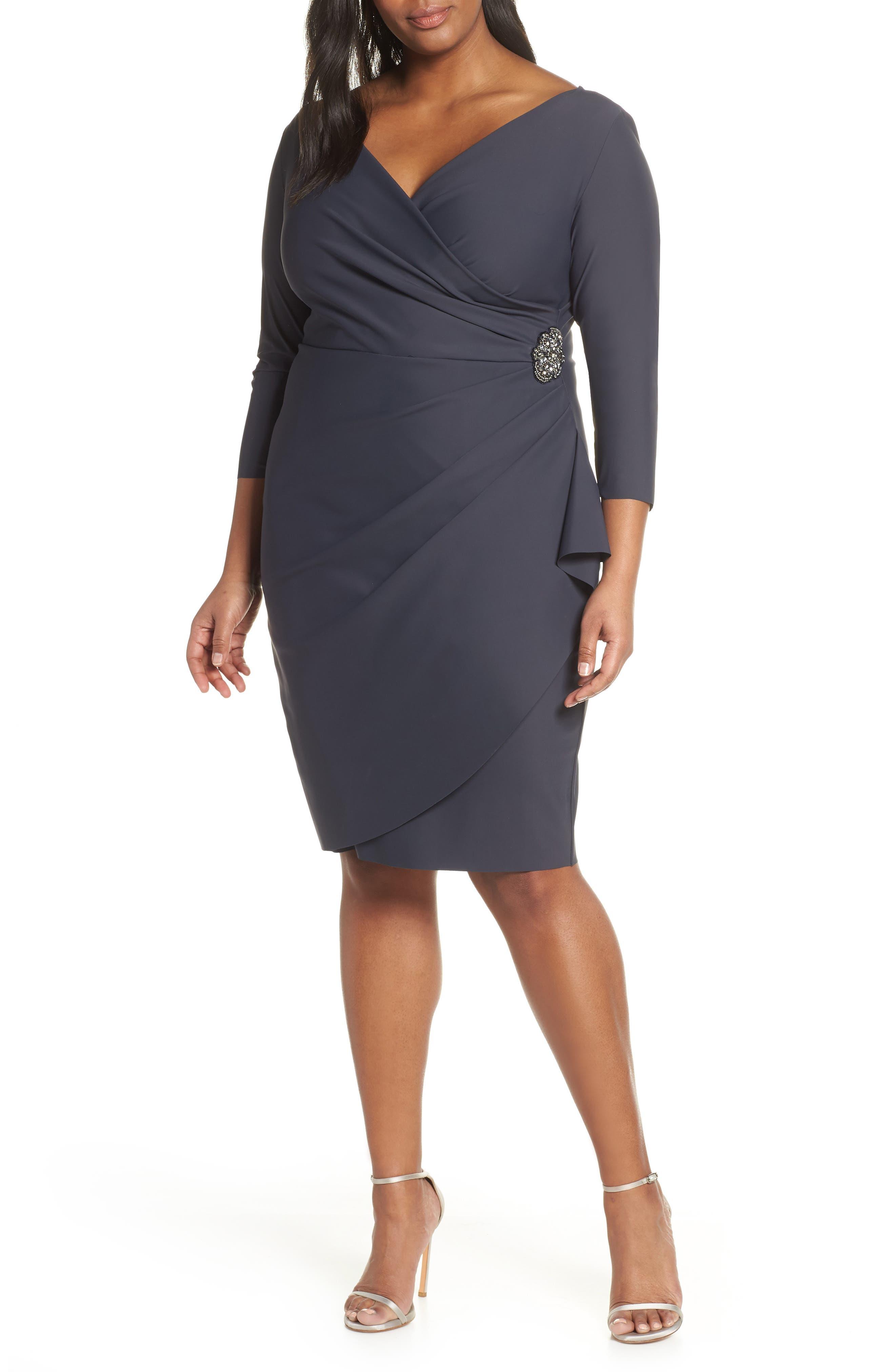 Plus Size Alex Evenings Embellished Surplice Sheath Dress, Grey
