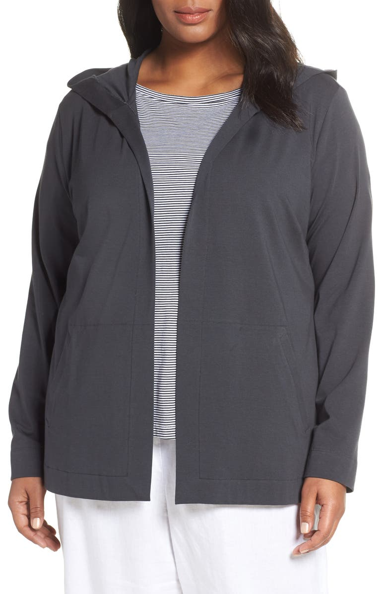 Eileen Fisher Tops STRETCH COTTON HOODED CARDIGAN