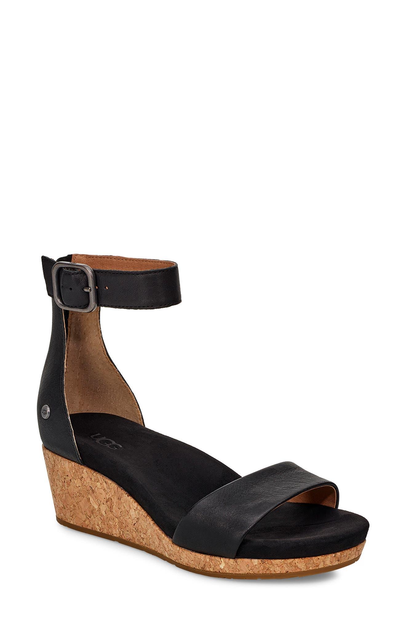 UGG<SUP>®</SUP> Zoe II Wedge Sandal, Main, color, BLACK LEATHER