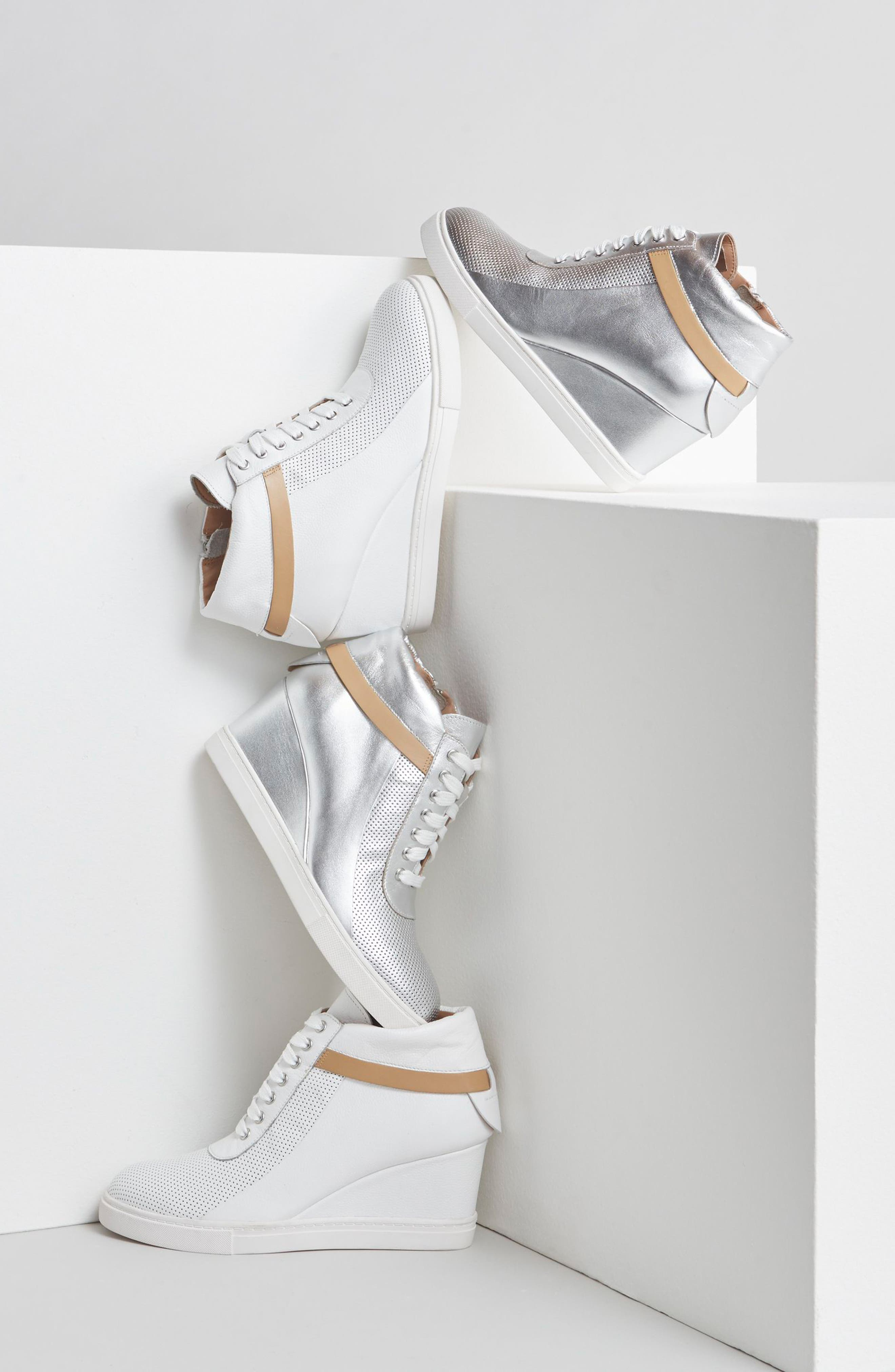 LINEA PAOLO, Freja Wedge Sneaker, Alternate thumbnail 7, color, BLACK GLISTEN LEATHER