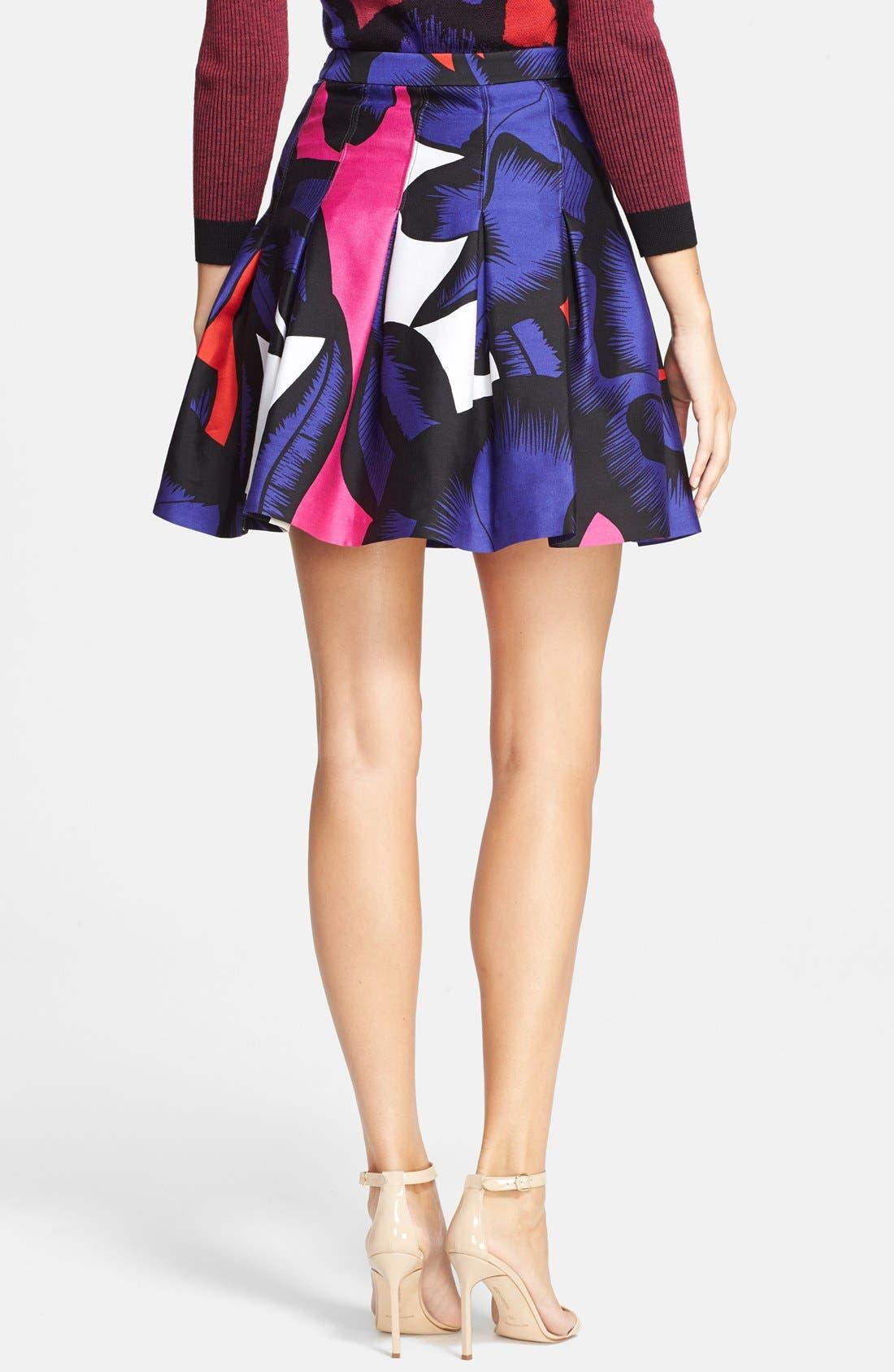 DIANE VON FURSTENBERG, 'Gemma' Print Pleated Skirt, Alternate thumbnail 2, color, 500